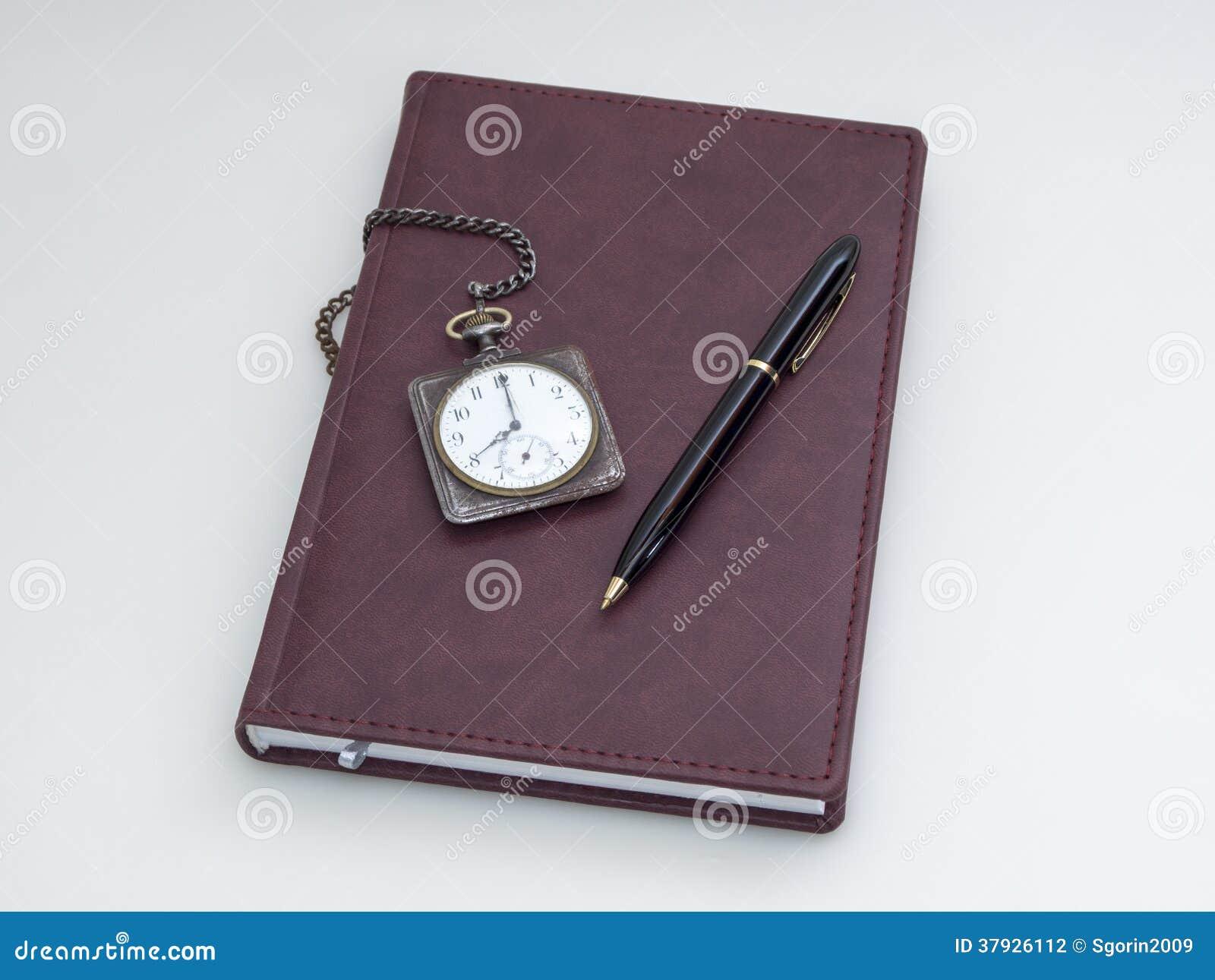 Ретро карманный вахта, дневник и ручка