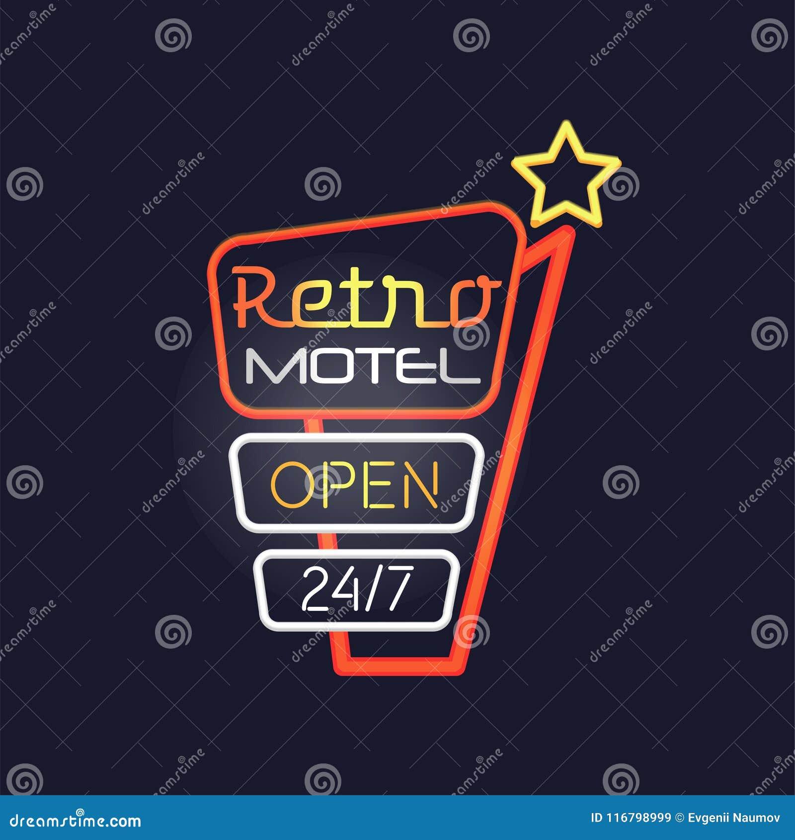 Ретро мотель раскрывает 24 7 неоновой вывески, винтажный яркий накаляя шильдик, светлая иллюстрация вектора знамени