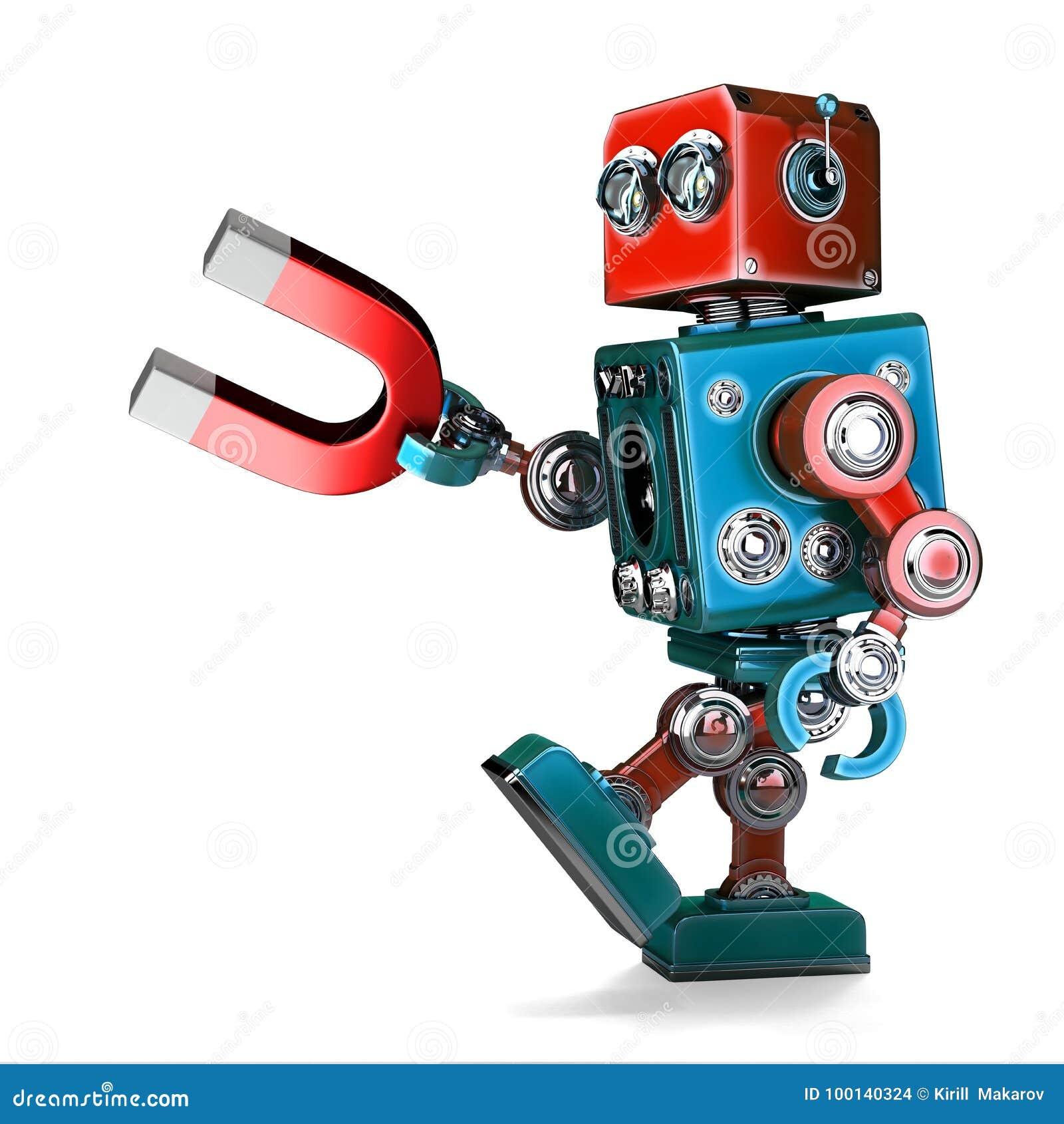 Ретро робот держа магнит иллюстрация 3d изолировано содержите