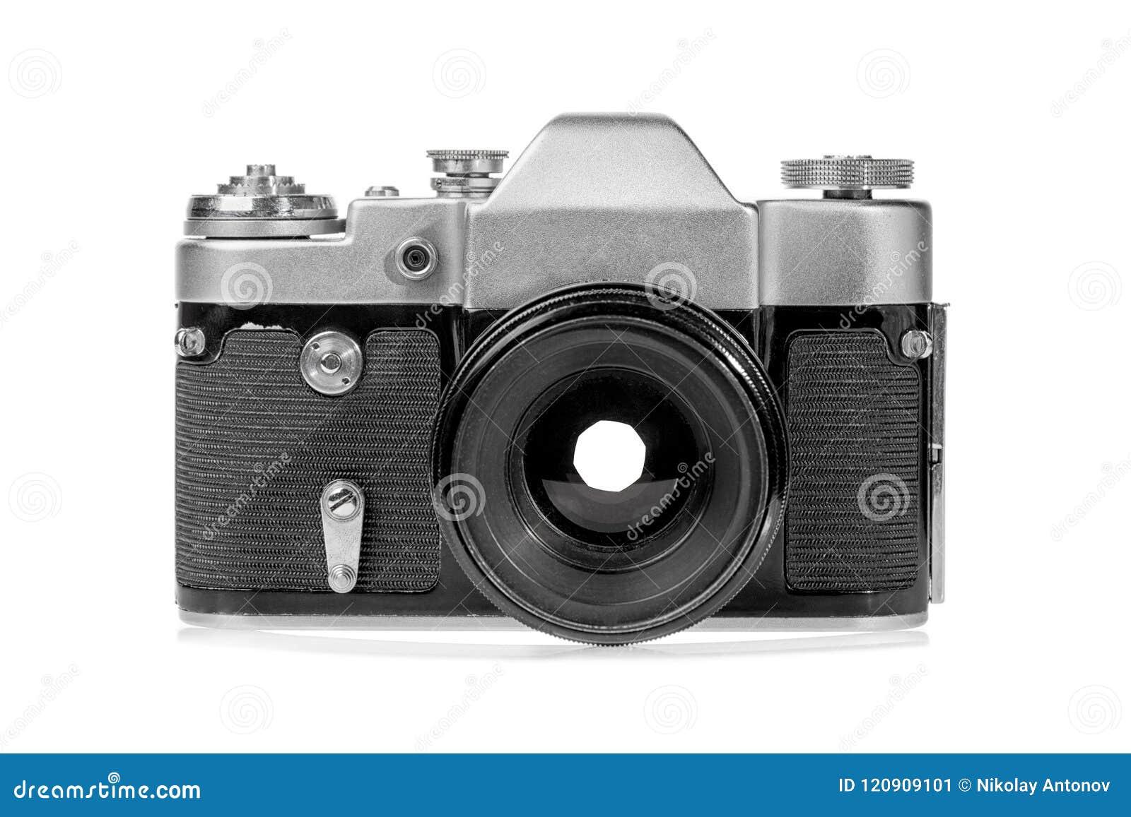 Ретро старая серебряная камера фото фильма изолированная на белой предпосылке