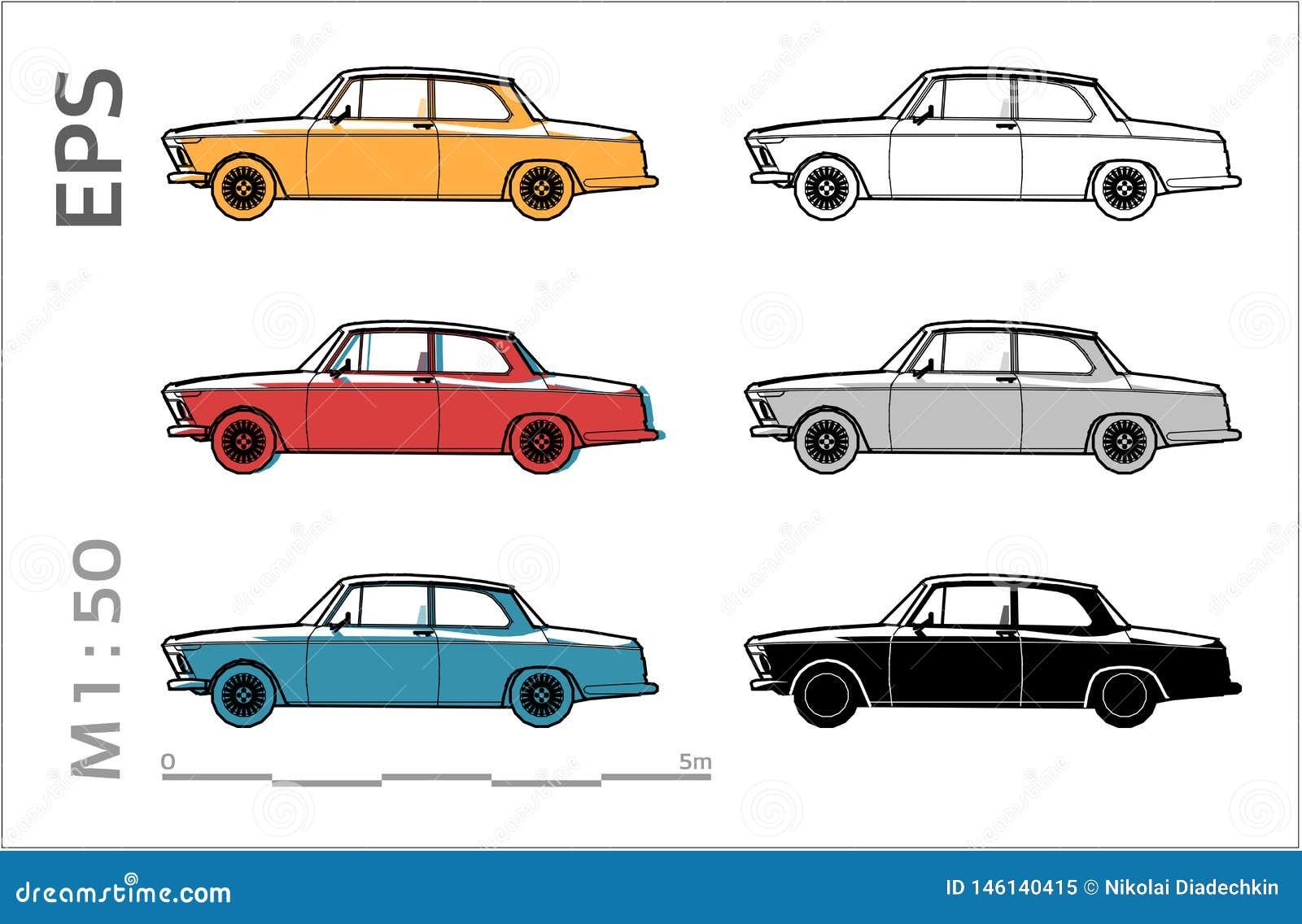 Ретро старые значки вектора автомобиля установили для архитектурноакустических чертежа и illustation