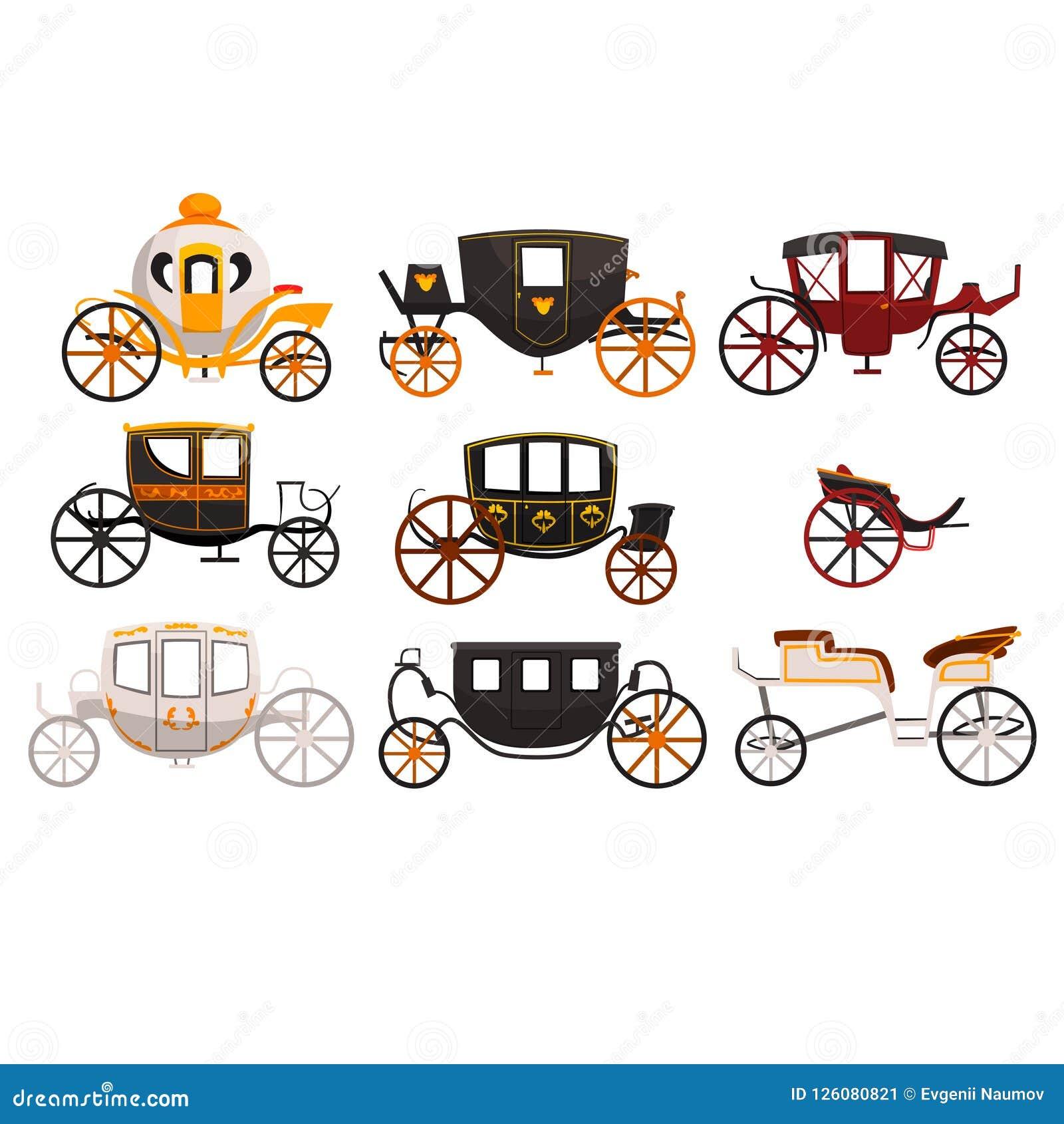 Ретро установленные экипажи, винтажный переход, brougham, кабина, фура для путешествовать, wedding иллюстрации вектора экипажа на