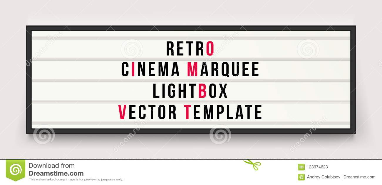 Ретро шаблон вектора lightbox шатёр кино