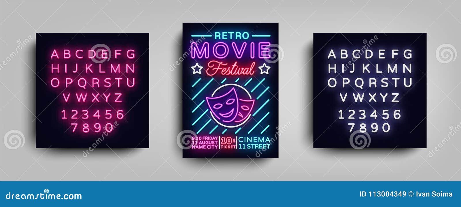 Ретро шаблон неона дизайна оформления открытки фестиваля кино Неон стиля брошюры, неоновая вывеска, плакат, знамя, ноча