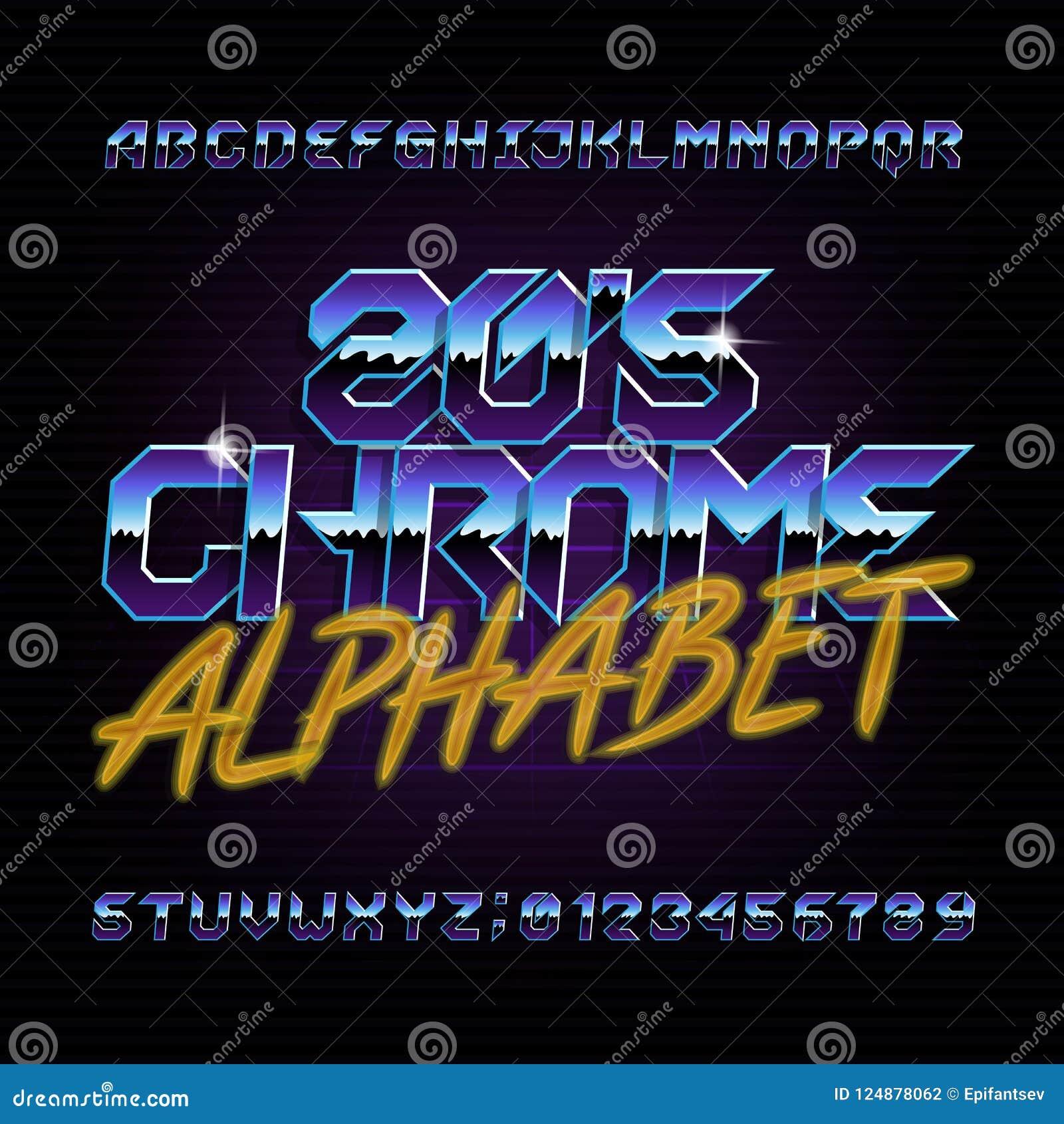 ретро шрифт алфавита хрома 80s Письма, номера и символы металлического влияния сияющие