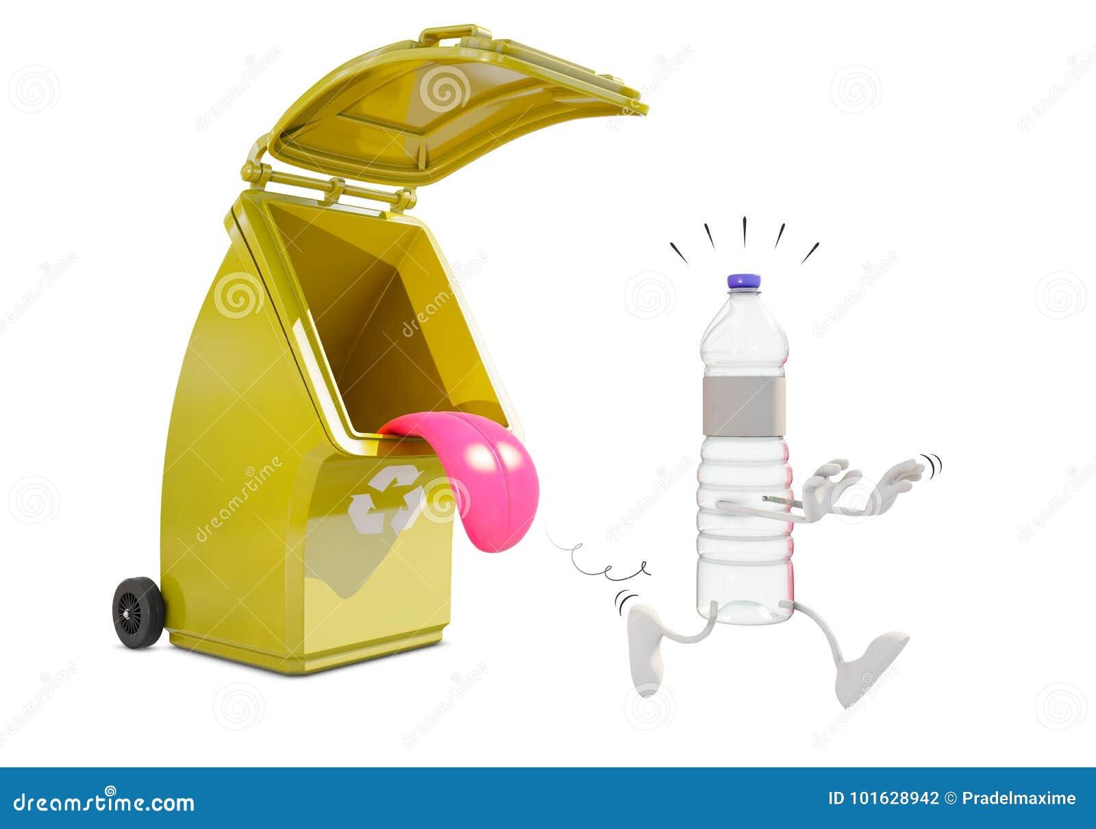 Рециркулирующ контейнер для пластмассы ест пластичный характер бутылки
