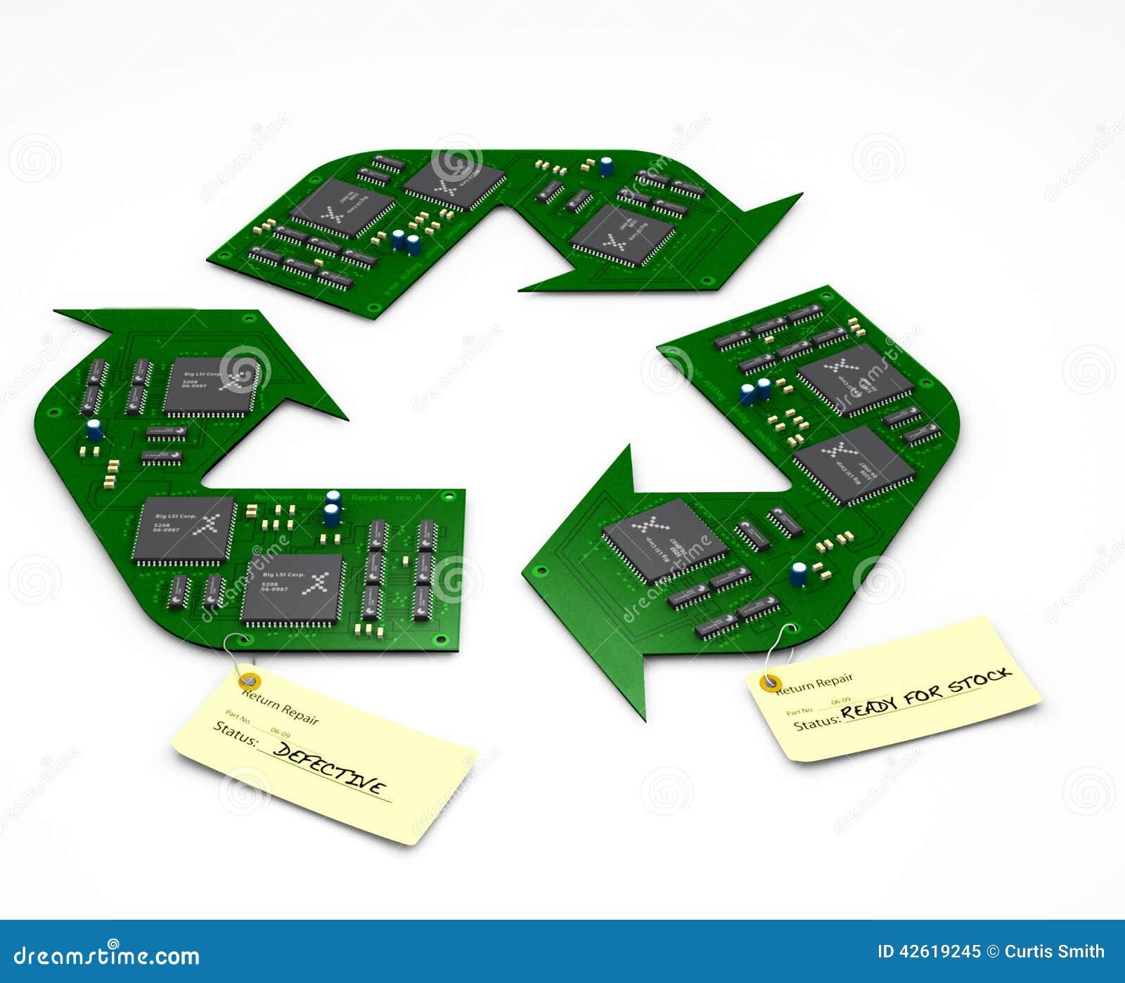 Рециркулируйте и отремонтируйте монтажные платы радиотехнической схемы