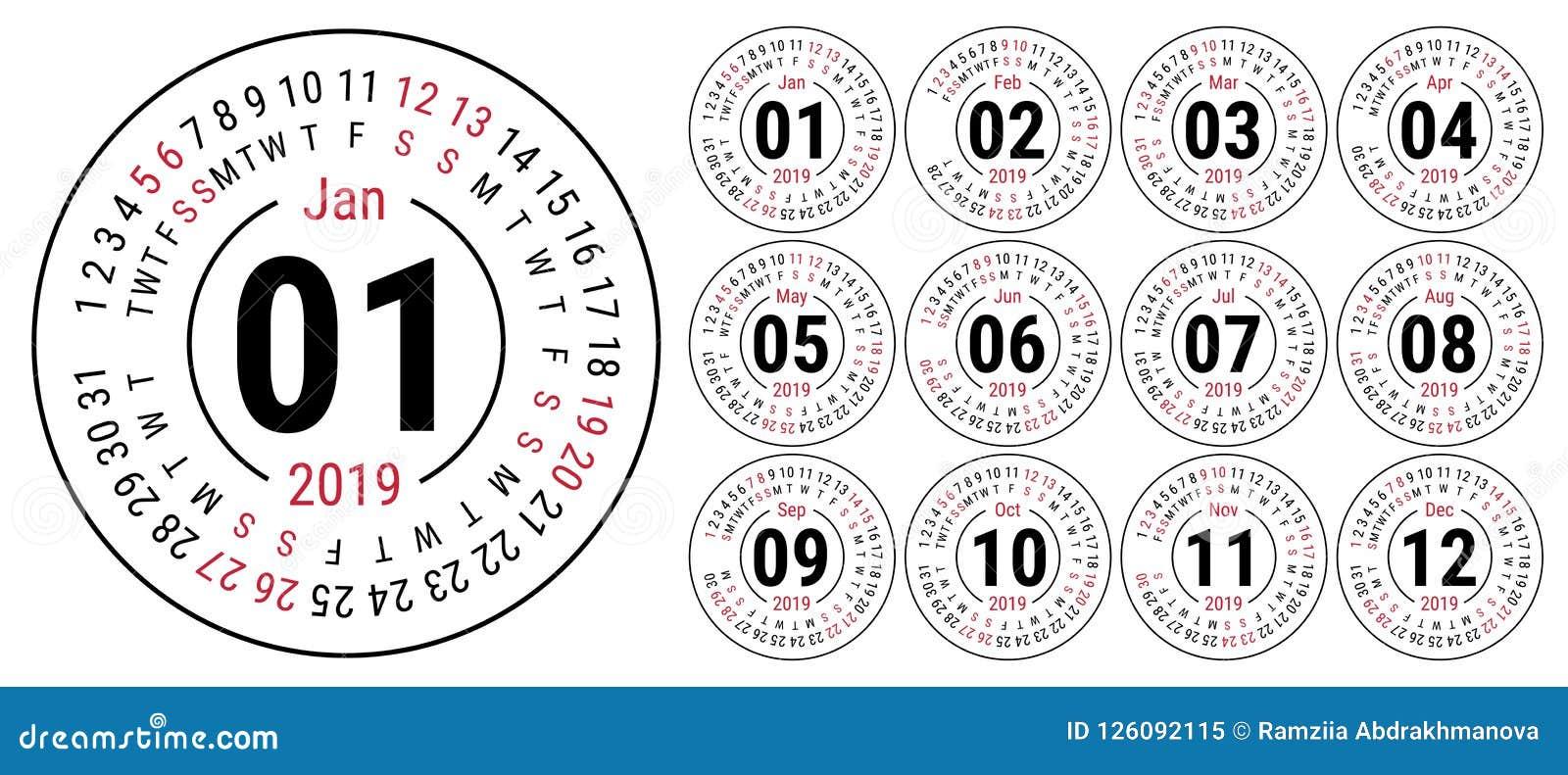 Решетка вектора календаря 2019 основная Шаблон простого дизайна английско