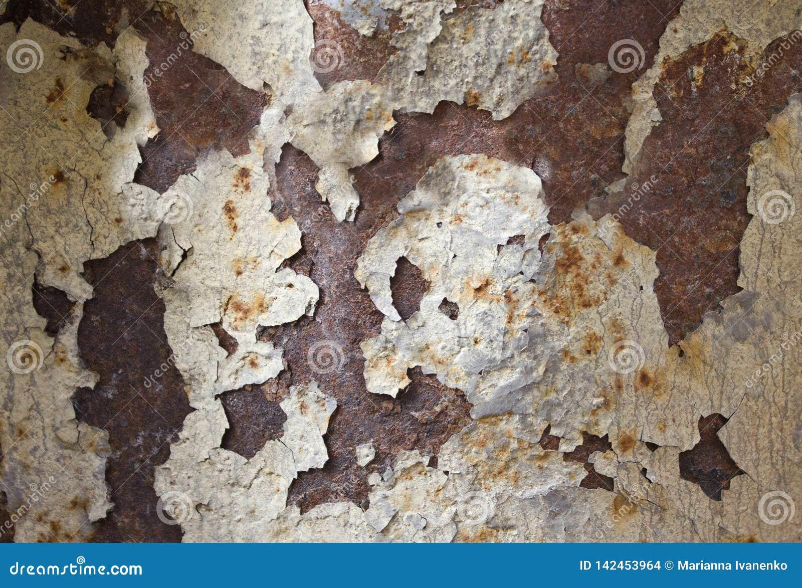 Ржавая металлическая текстура фото со слезать краску
