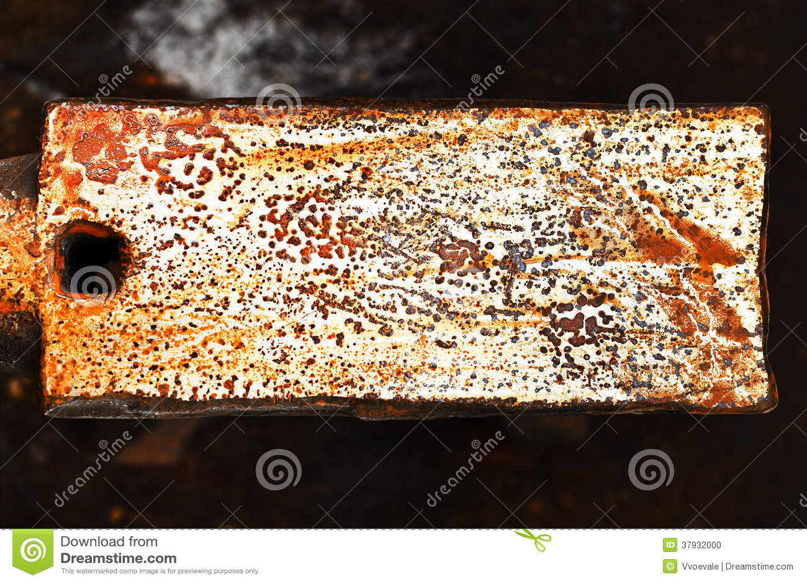 Ржавая поверхность железного наковальни