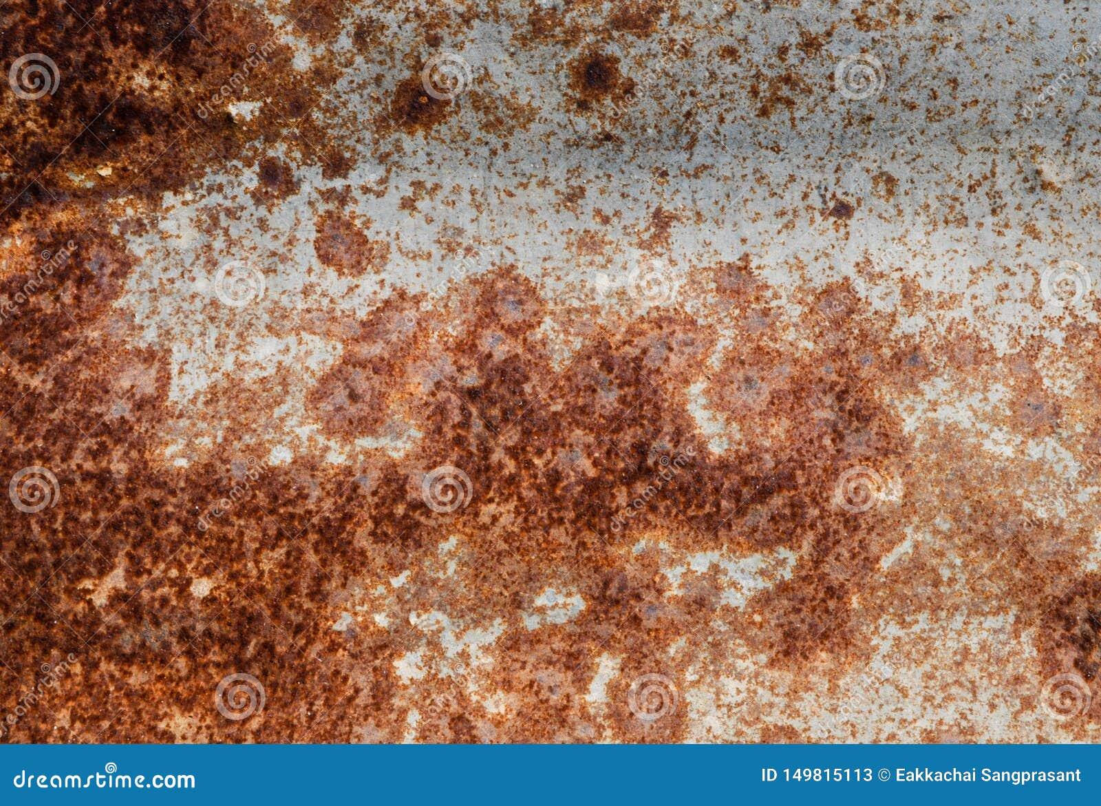 Ржавчина Ed на стене предпосылки листа контейнера разваленной металлом скомканной широкой Выдержанная текстура утюга ржавая изоли