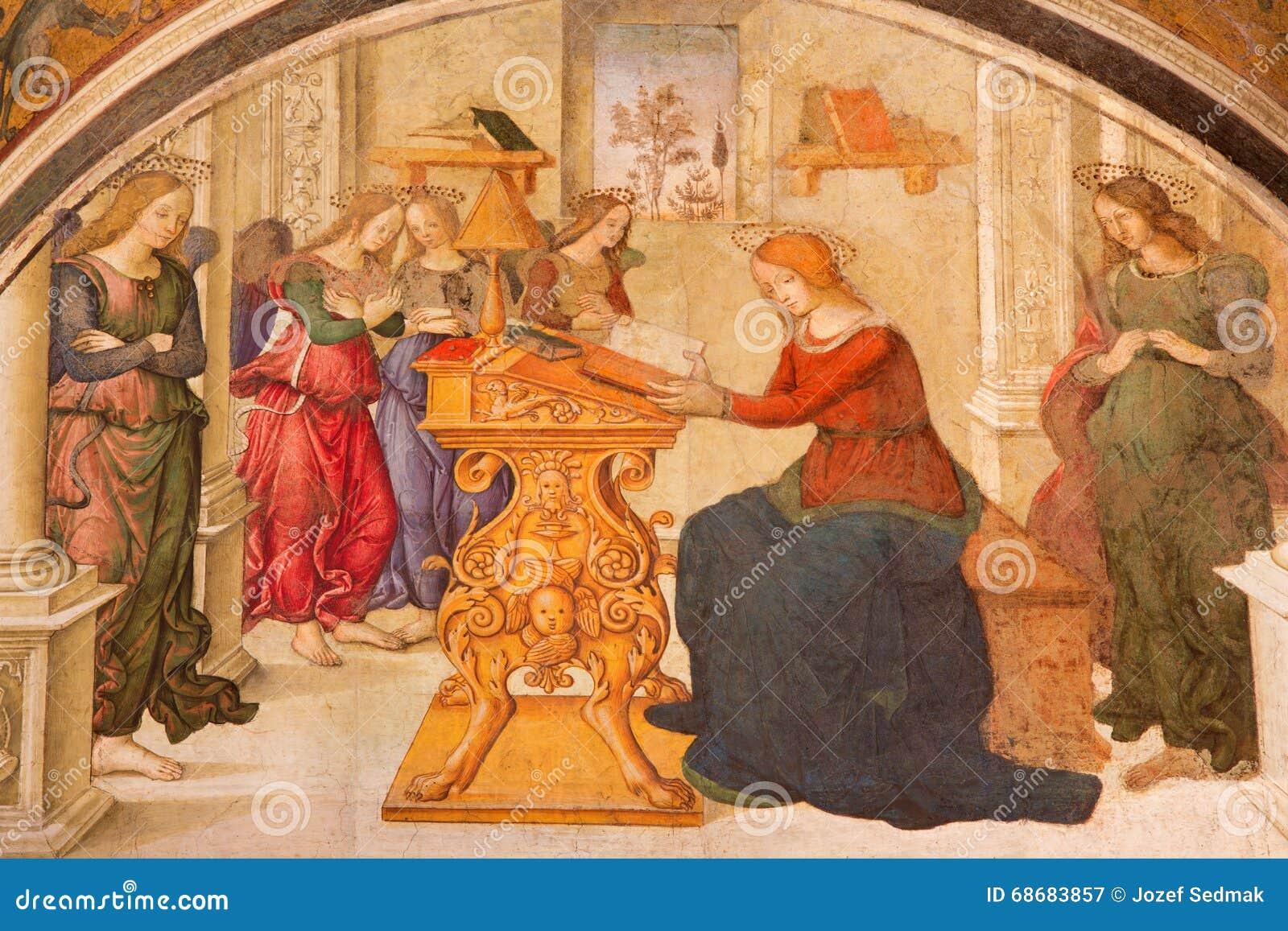Рим - аннунциация хелпером Aiuto del Pinturicchio в часовне Rovere della Basso в del Santa Maria di базилики церков