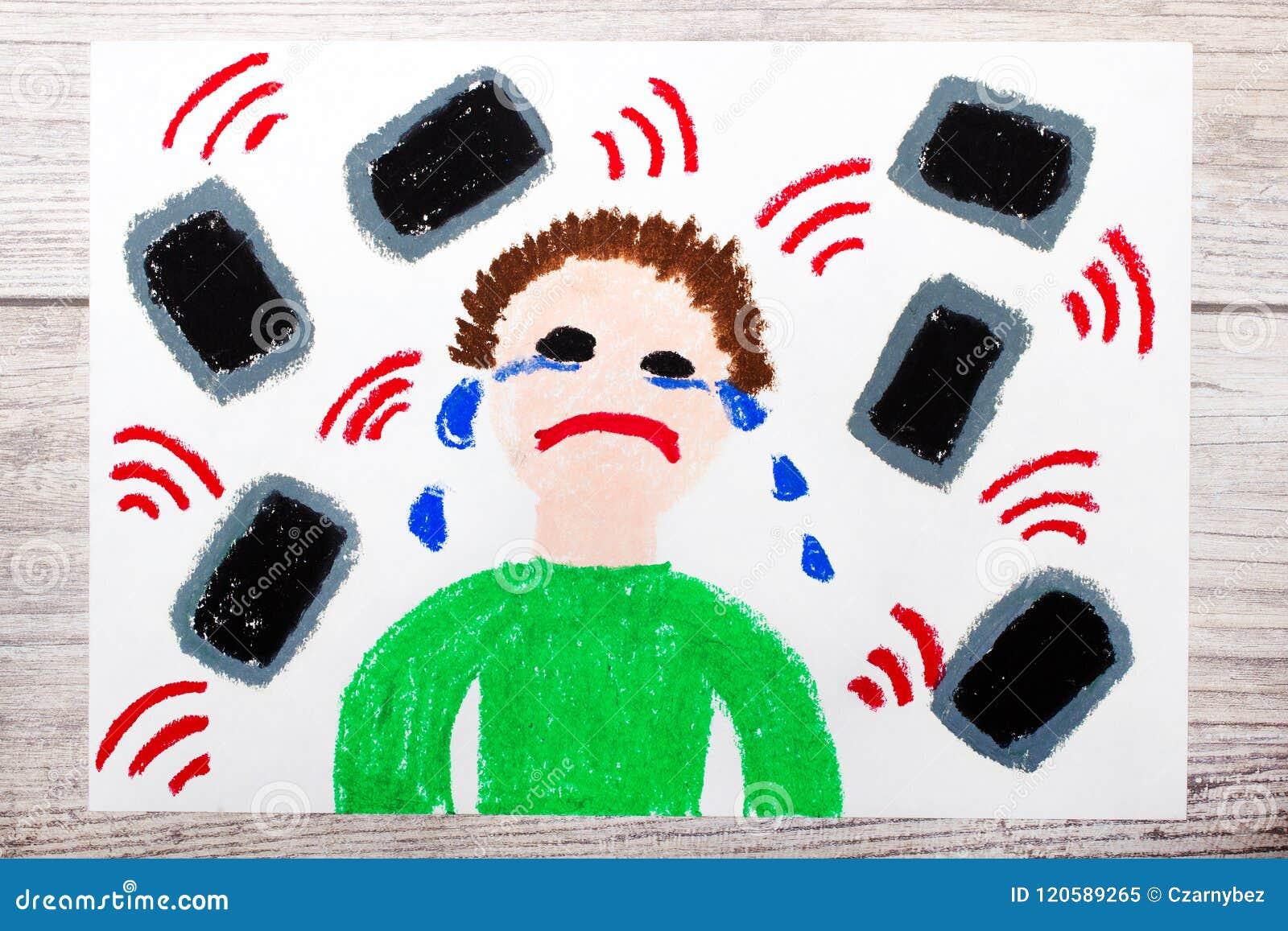 Рисовать: Плача мальчик окруженный телефонами или таблетками Опасность социальных средств массовой информации