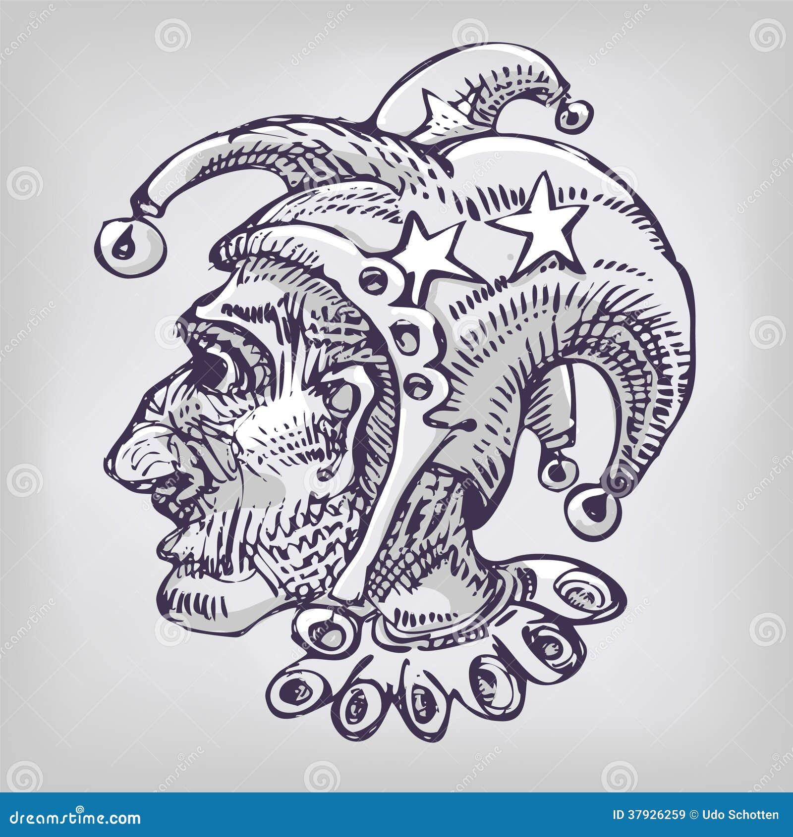 Рисовать с арлекином и головой