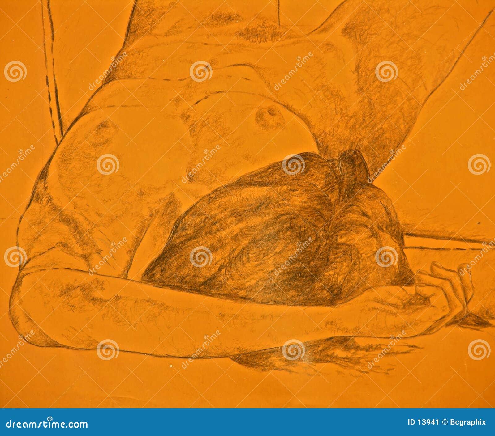 рисуя безжизненная лежа нагая женщина