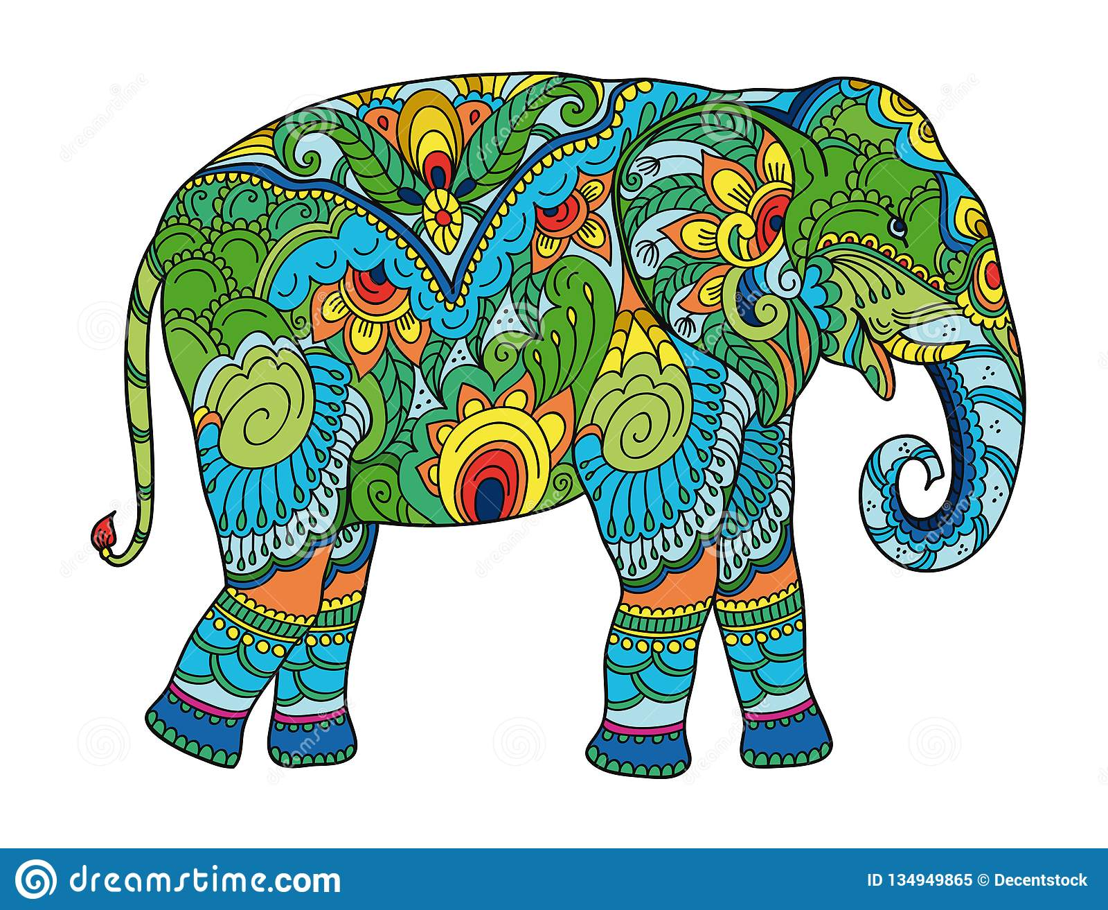 Рисуя стилизованный слон Freehand эскиз для взрослой анти- книжка-раскраски стресса