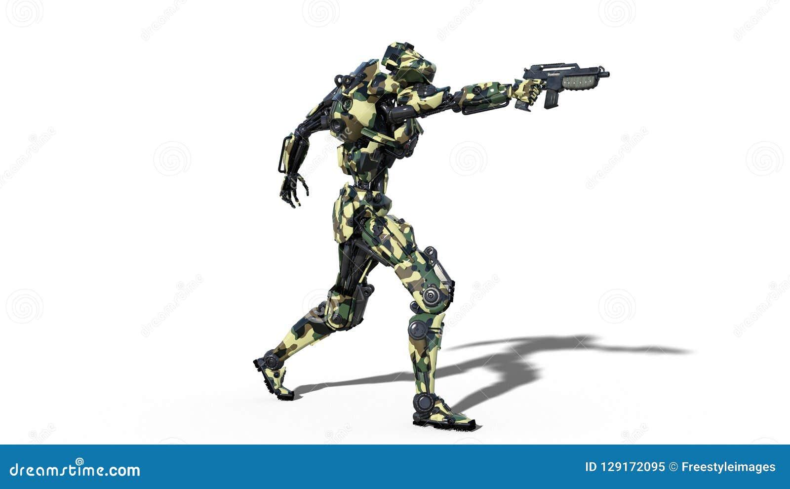 Робот армии, киборг вооруженных сил страны, воинское оружие стрельбы солдата андроида на белой предпосылке, 3D представляет
