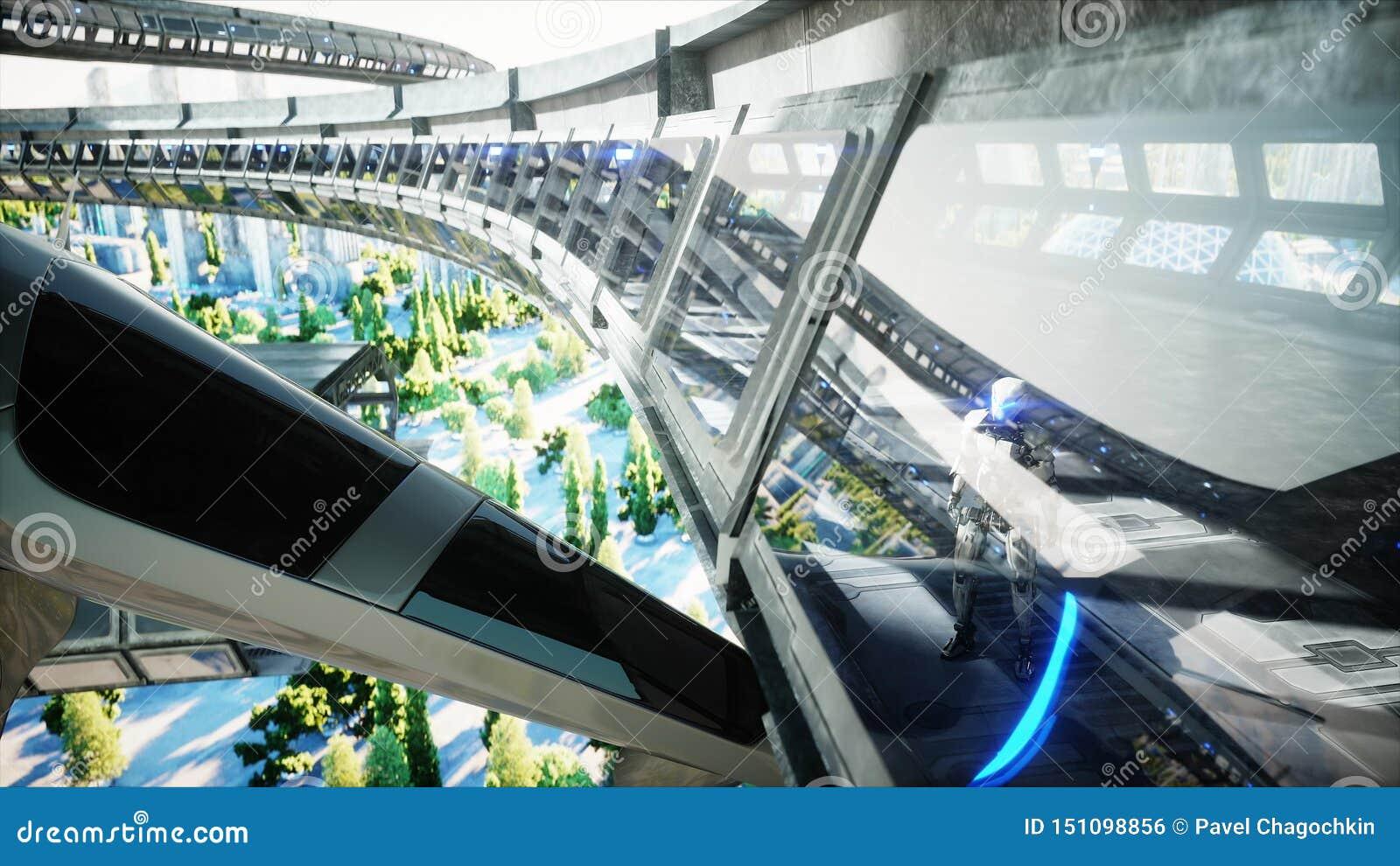 Робот в tonnel Sci fi Концепция будущего r r