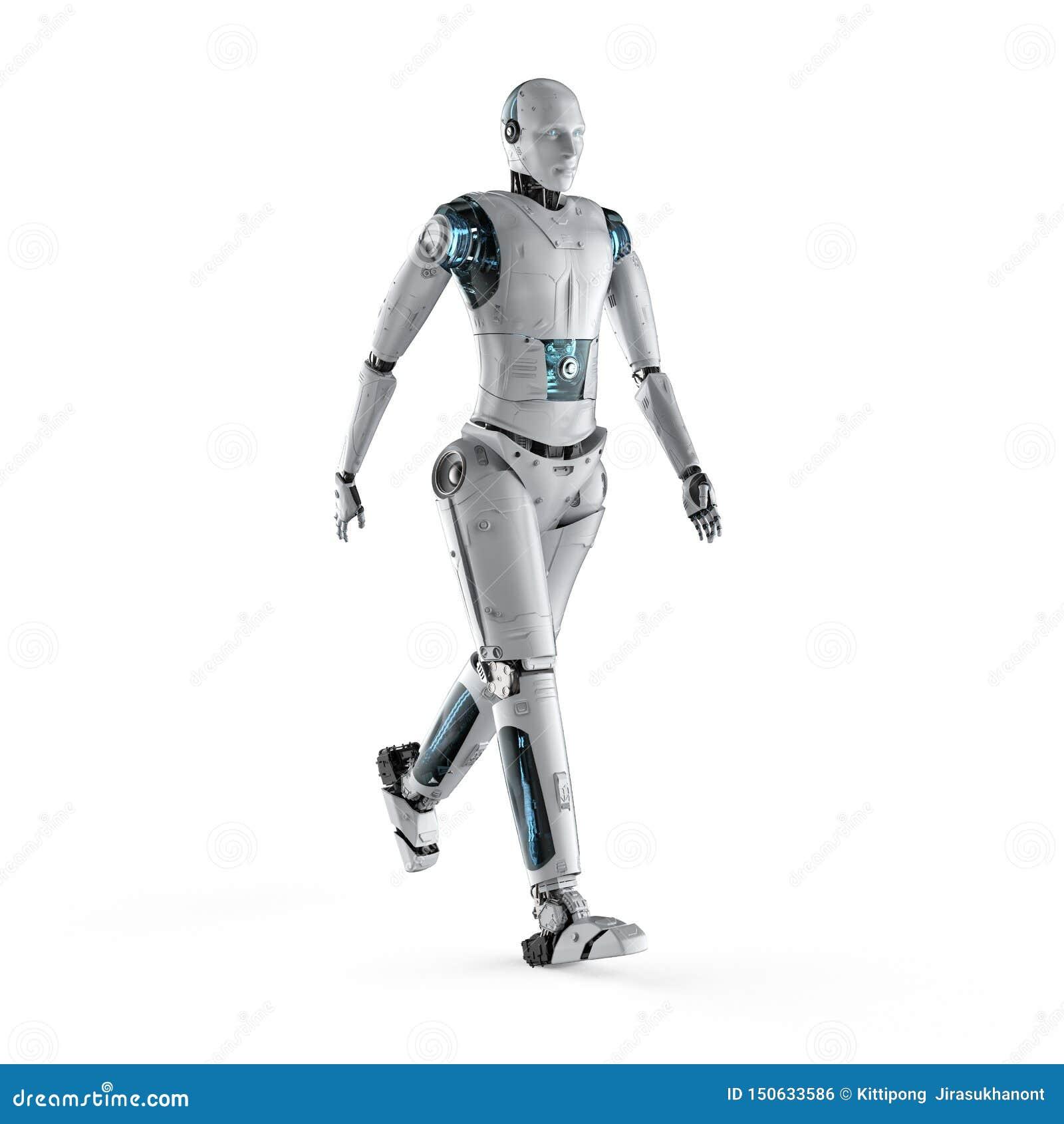 Робот идя полное тело
