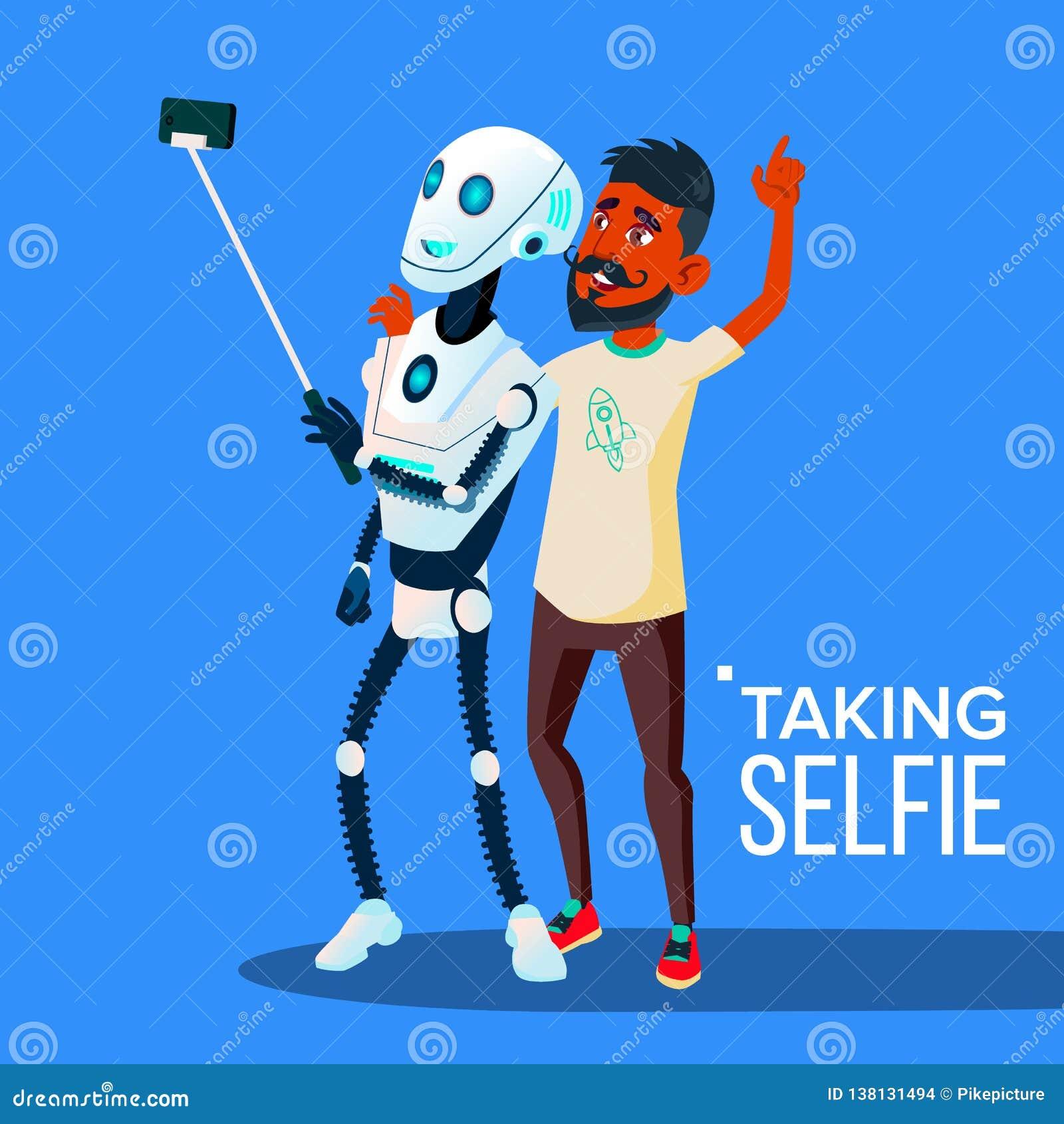 Робот принимает Selfie на смартфоне с вектором Гай друга изолированная иллюстрация руки кнопки нажимающ женщину старта s