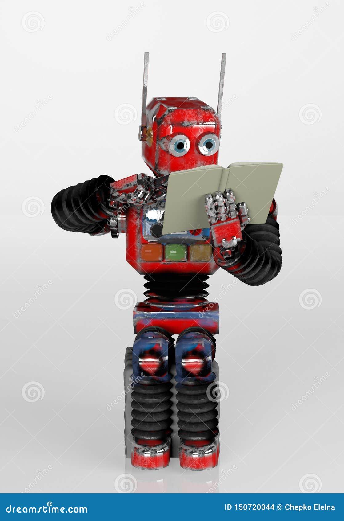 Робот сидит на камне и читает книгу 3d представьте