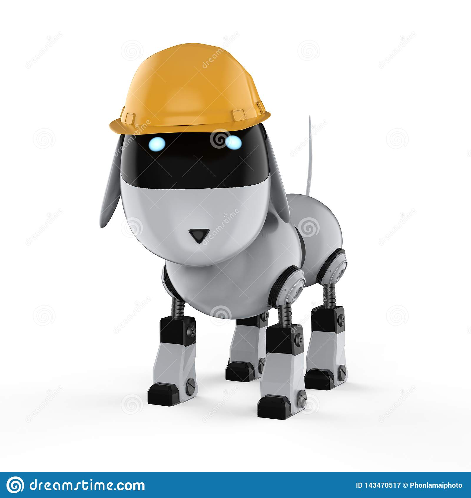 Робот собаки с желтым шлемом