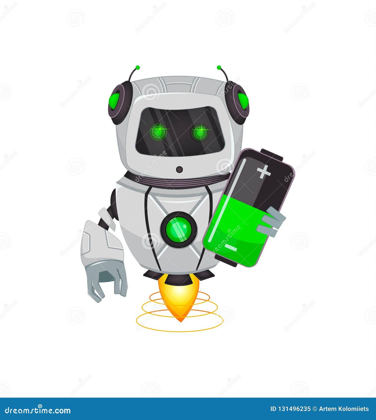 Робот с искусственным интеллектом, средство Смешной персонаж из мультфильма держит батарею Организм гуманоида кибернетический Буд