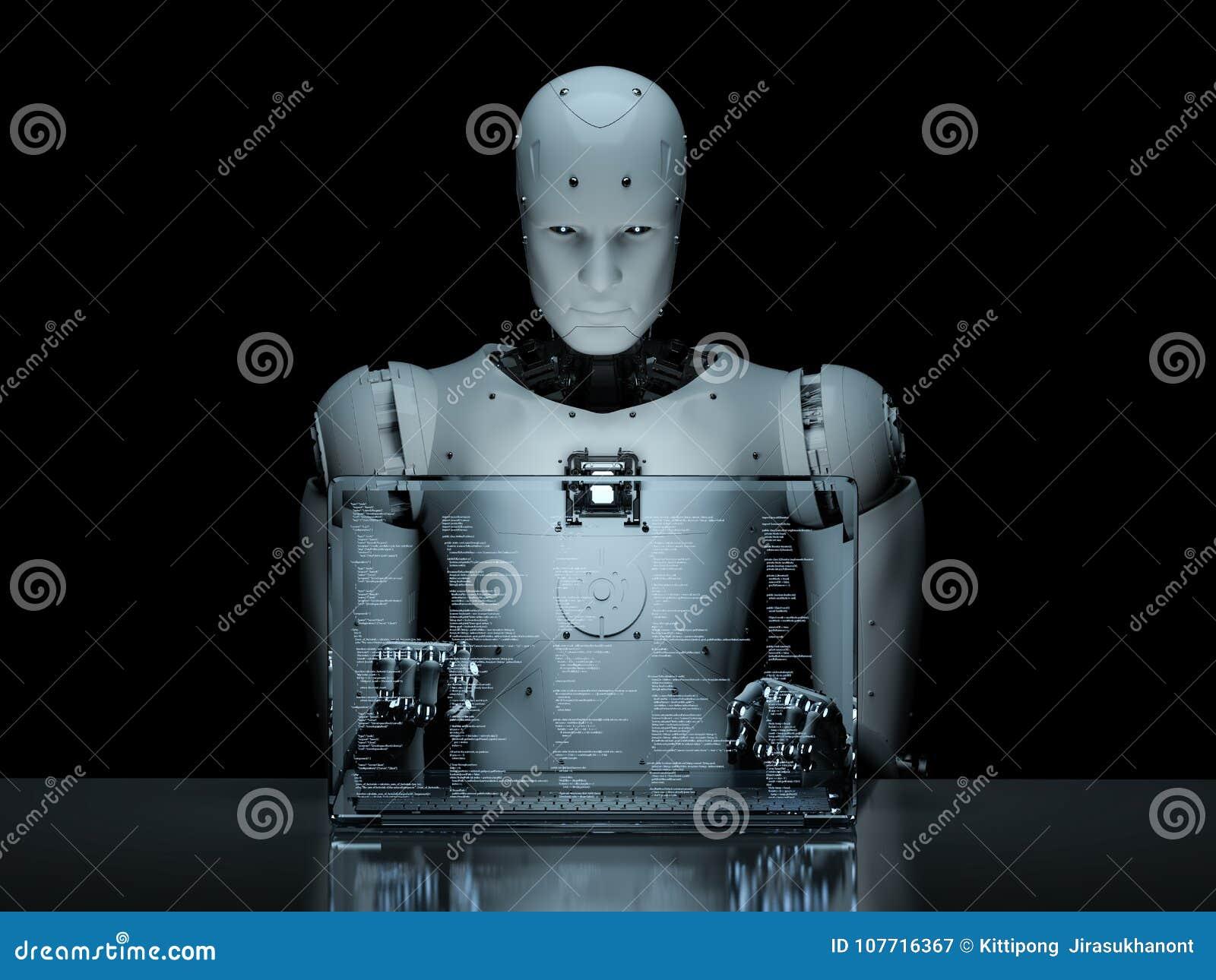 Робот с стеклянной компьтер-книжкой