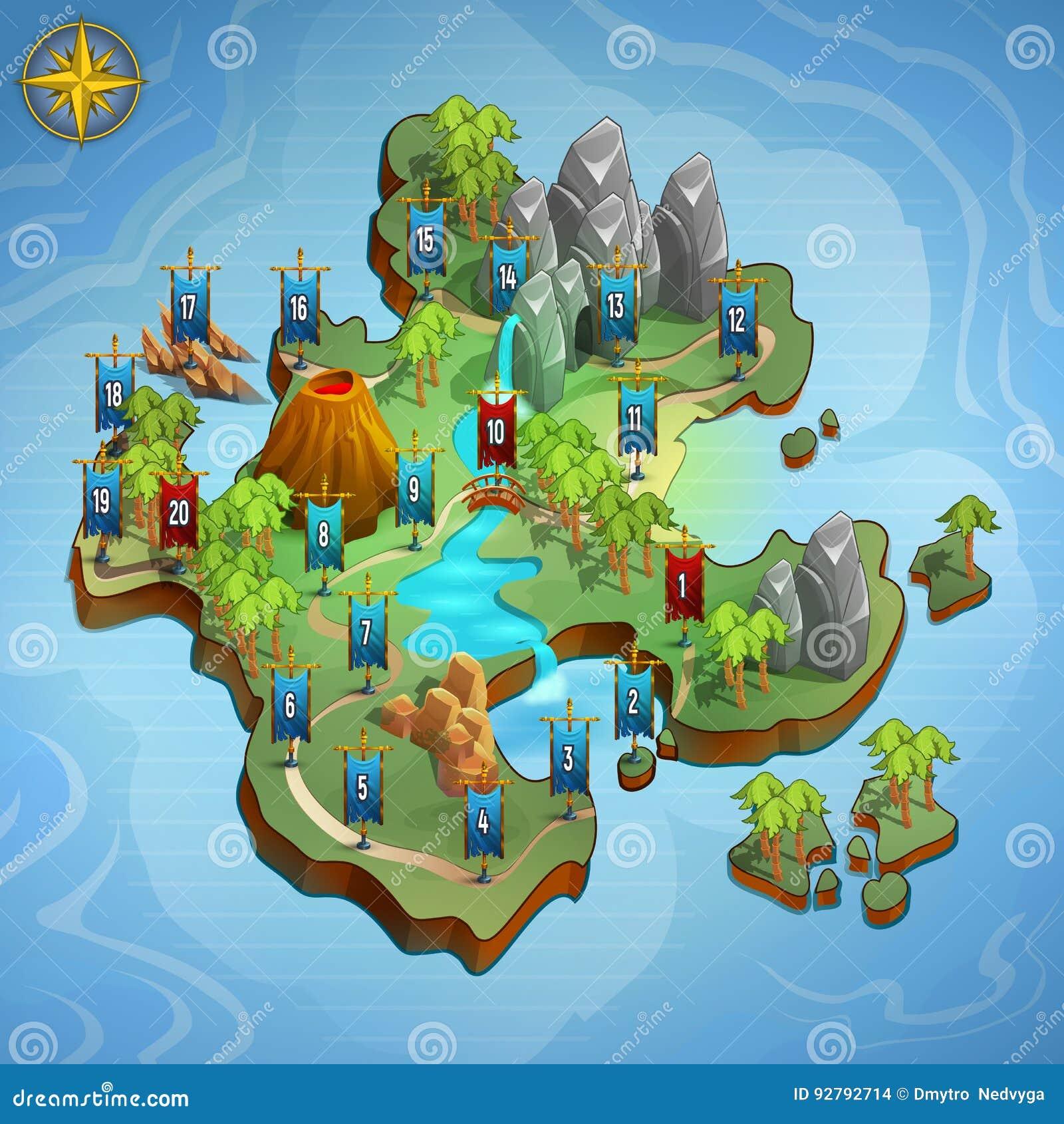 Ровные карты для игры Пользовательский интерфейс примера игры