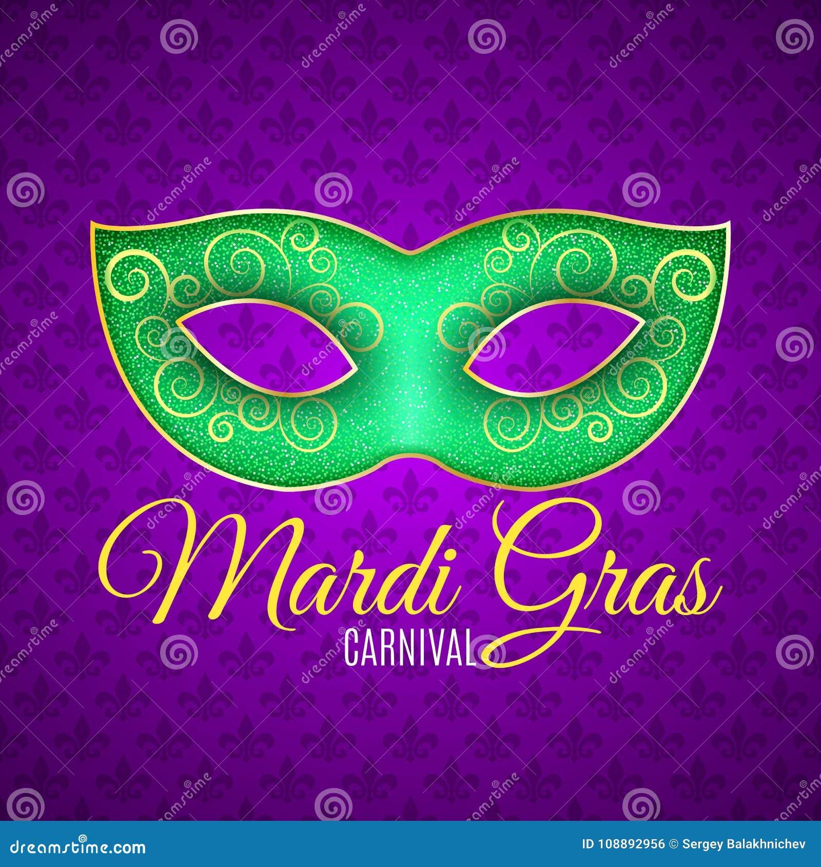 Рогулька для масленицы марди Гра Зеленая маска яркого блеска с зелеными sparkles Безшовная картина от фиолетовой heraldic лилии F