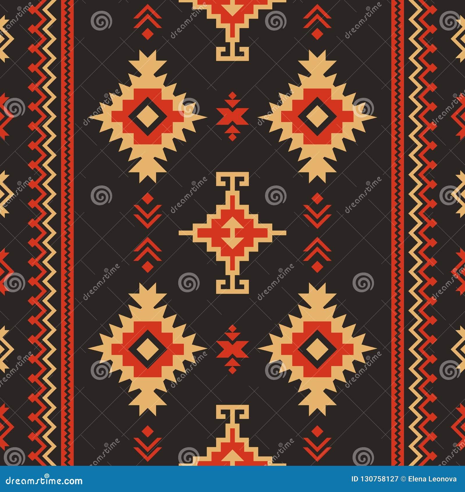 Родная ткань Kilim геометрического дизайна этническая картина безшовная