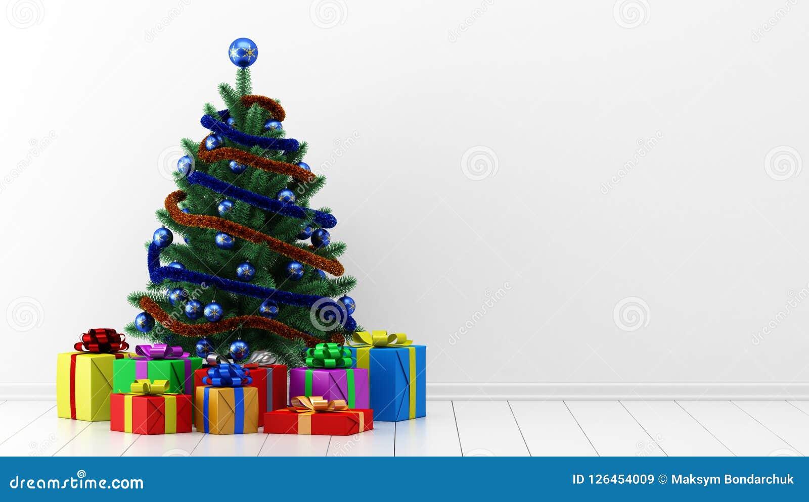 Рождественская елка с подарочными коробками в белой комнате illus 3d