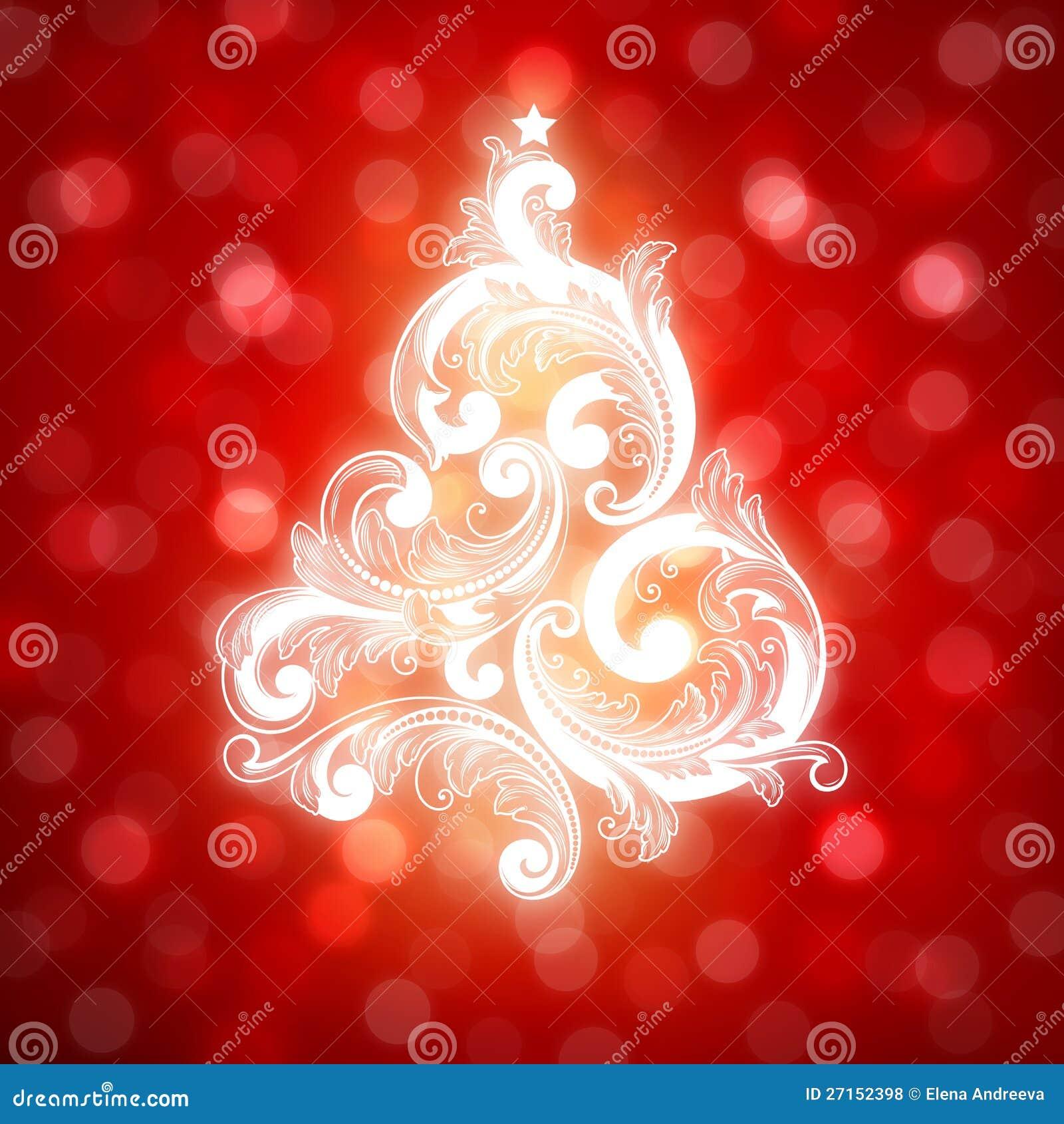 Рождественская елка Swirly на предпосылке bokeh.