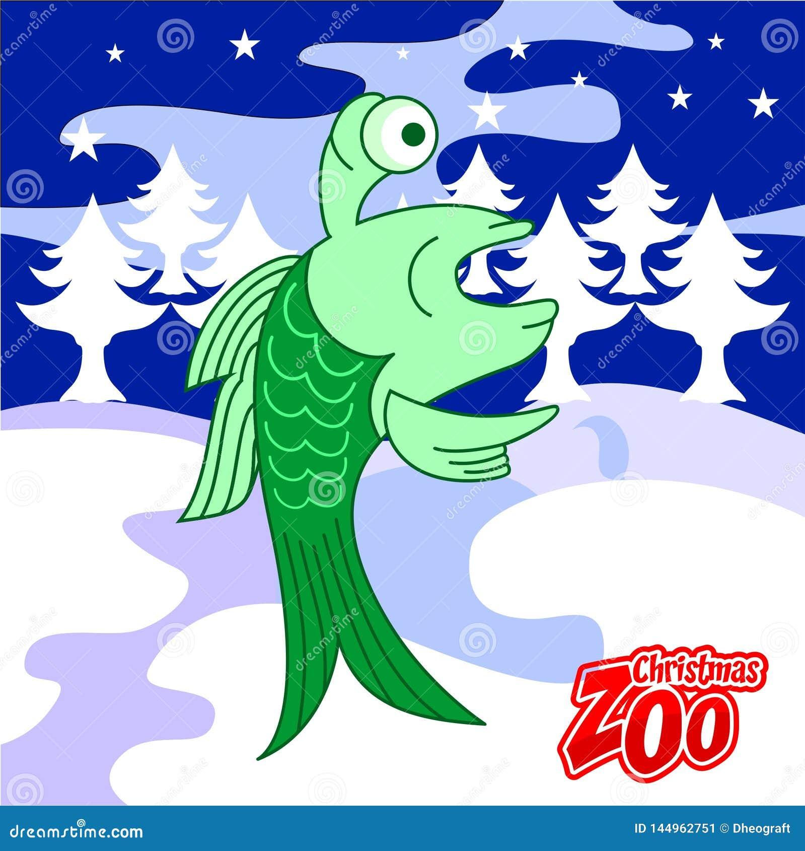 Рождественская открытка рыб интереса, зоопарк рождества