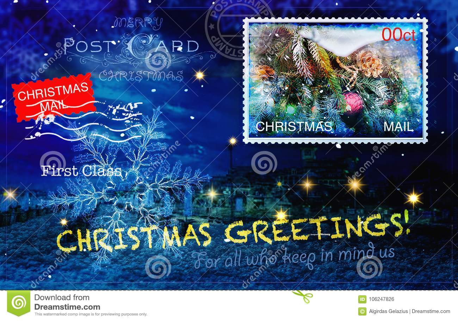 Рождественская открытка с различными штемпелями