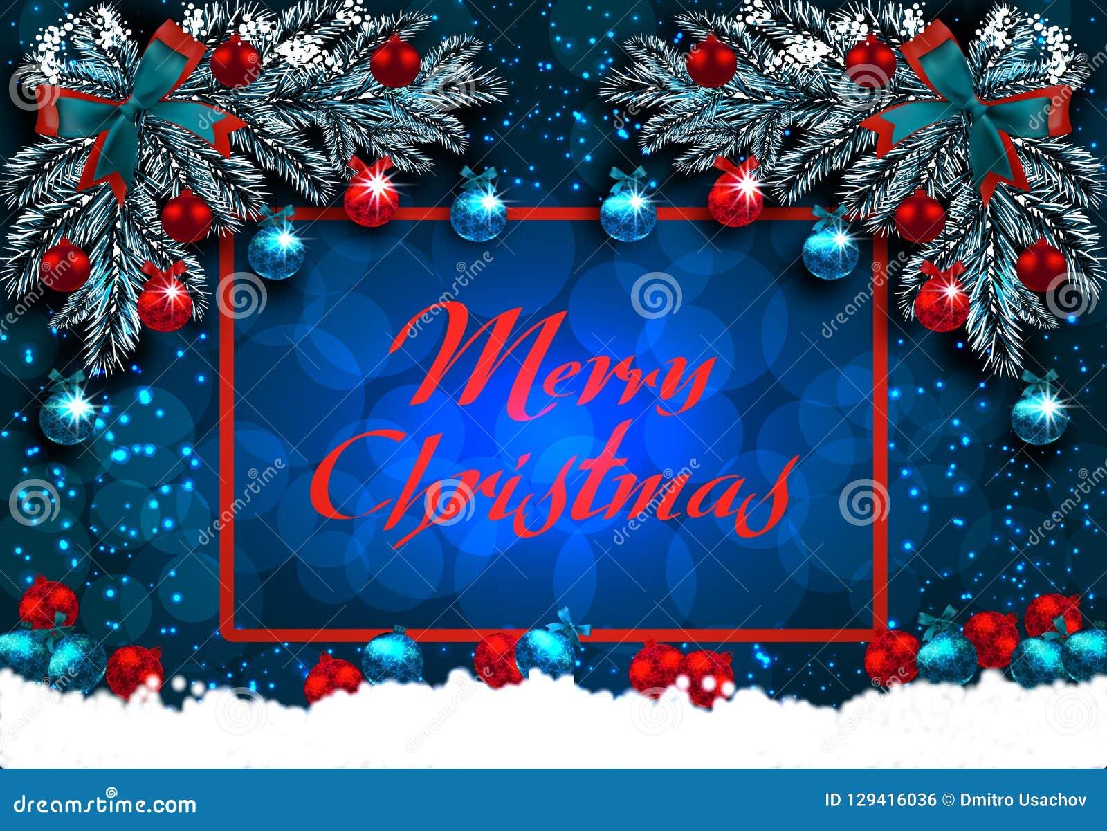 рождество веселое Поздравительная открытка с украшениями на рождественской елке и снеге Угловой чертеж иллюстрация