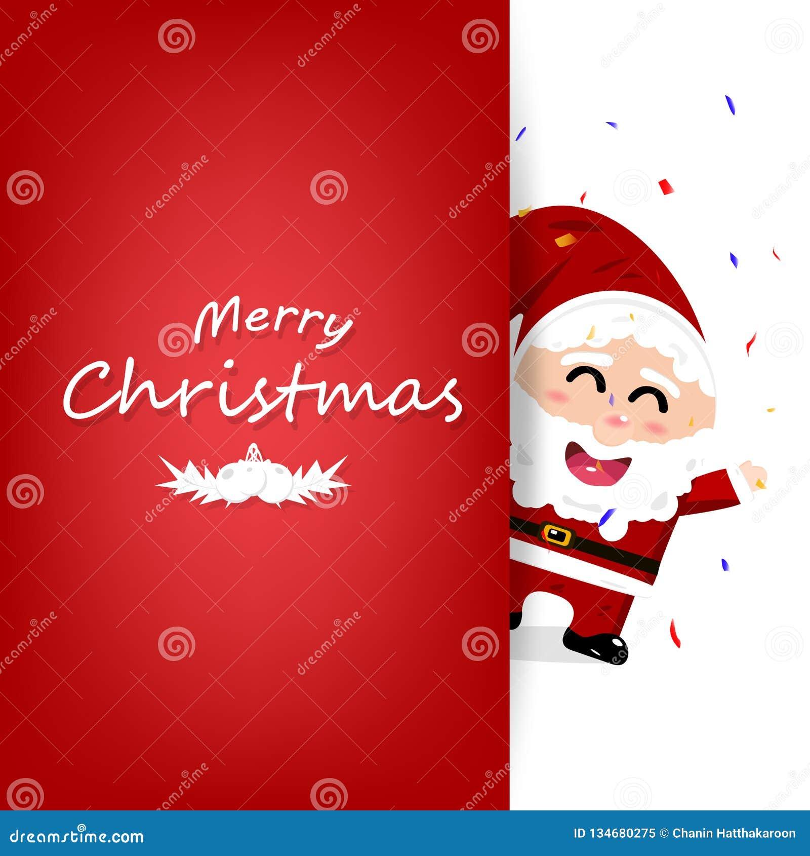 Рождество, карта торжества приглашения, партия с confetti падая, дизайн знамени плаката, милый персонаж из мультфильма Санта Клау