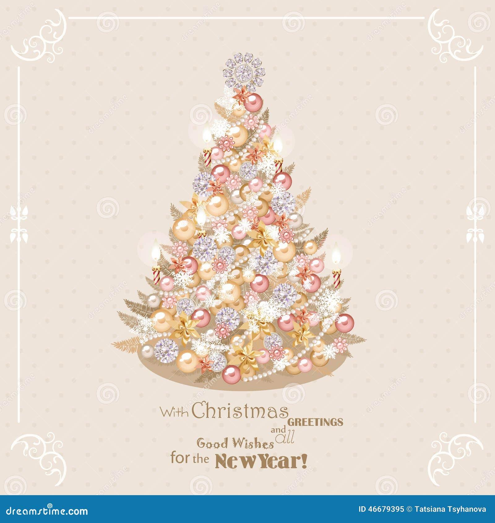 Рождественская елка с золотыми и серебряными украшениями ...