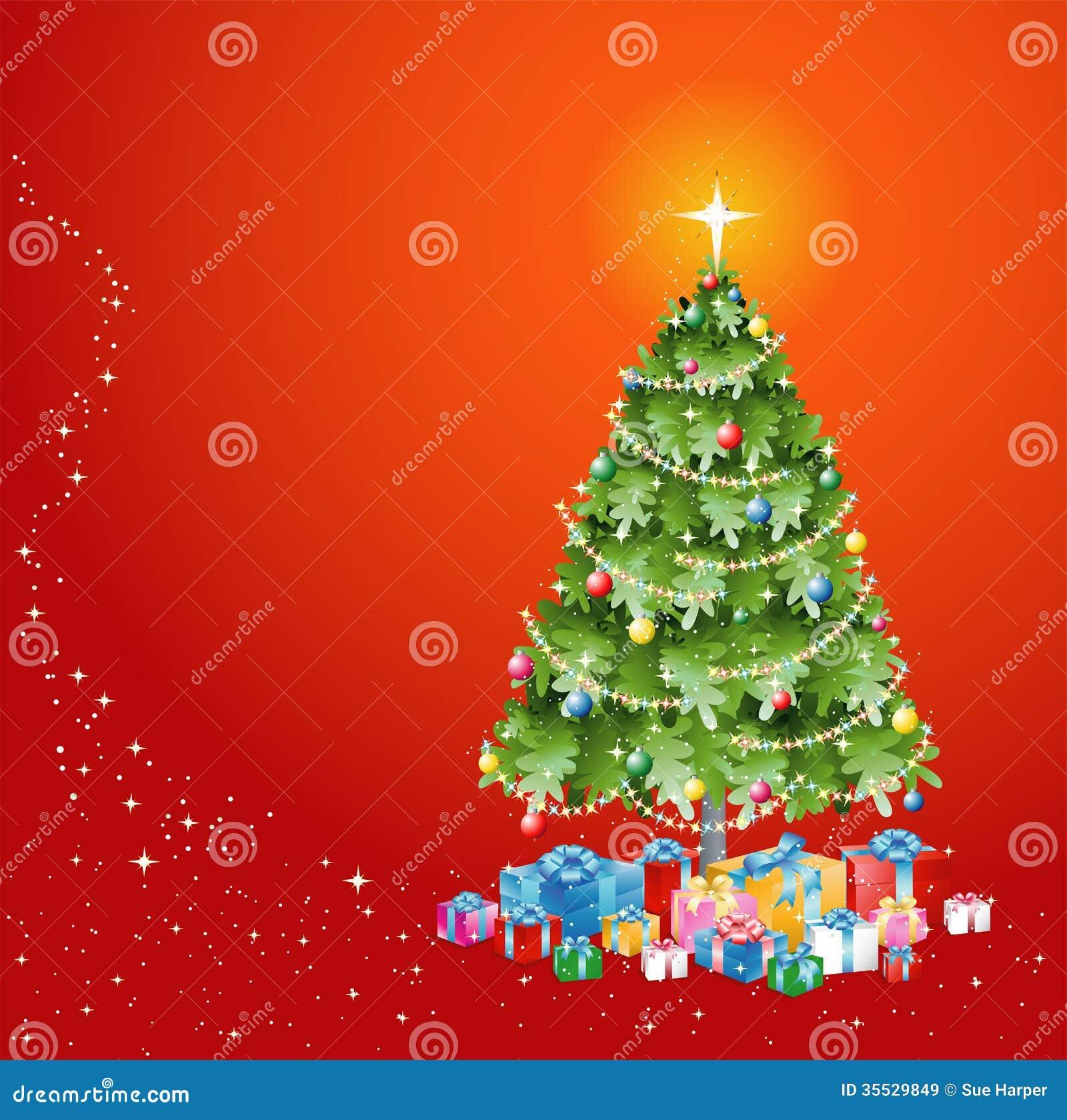 Рождественская елка с украшениями и настоящими моментами ...