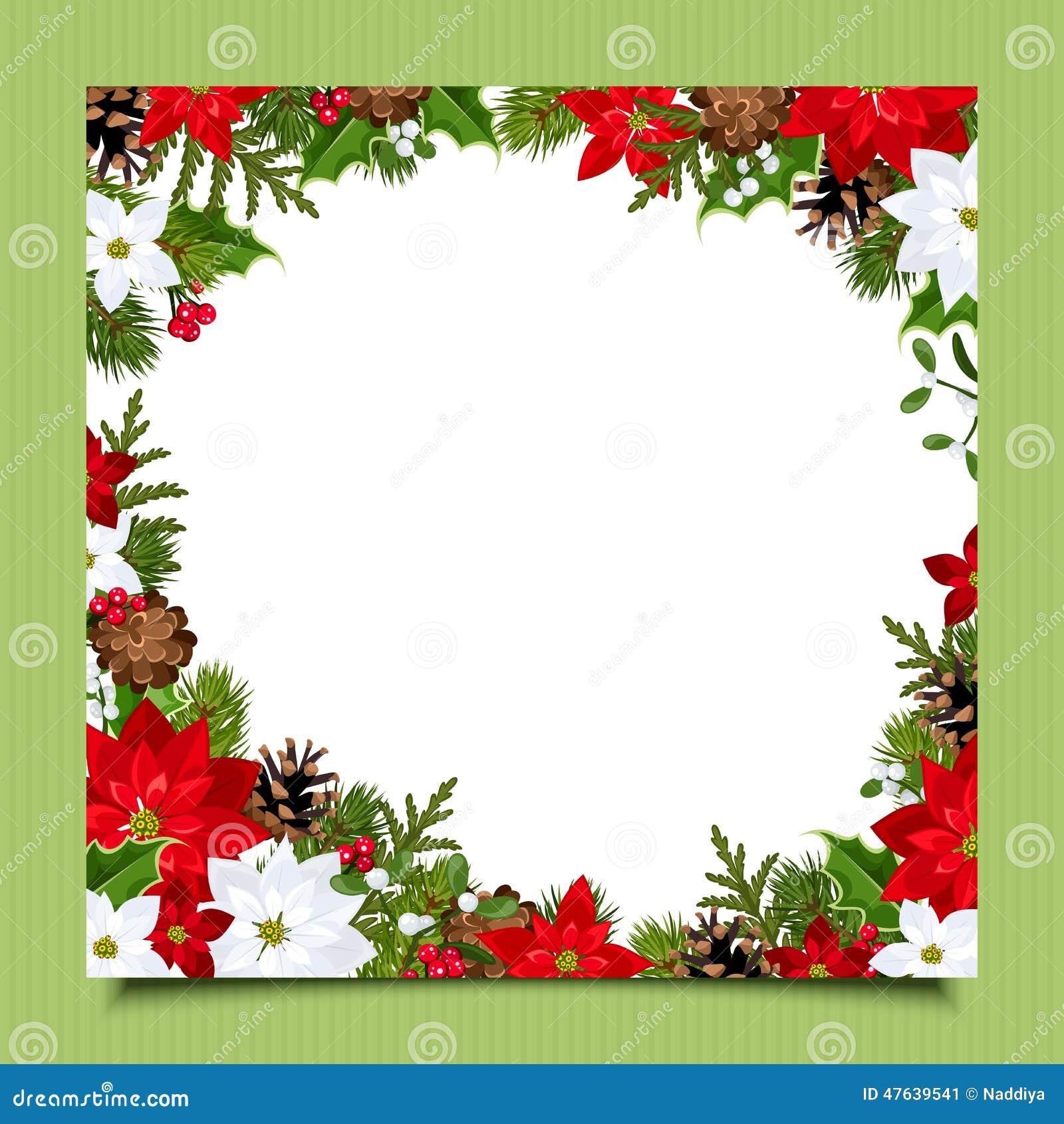 Рождественская открытка с ветвями, падубом, poinsettia и конусами ели Вектор EPS-10