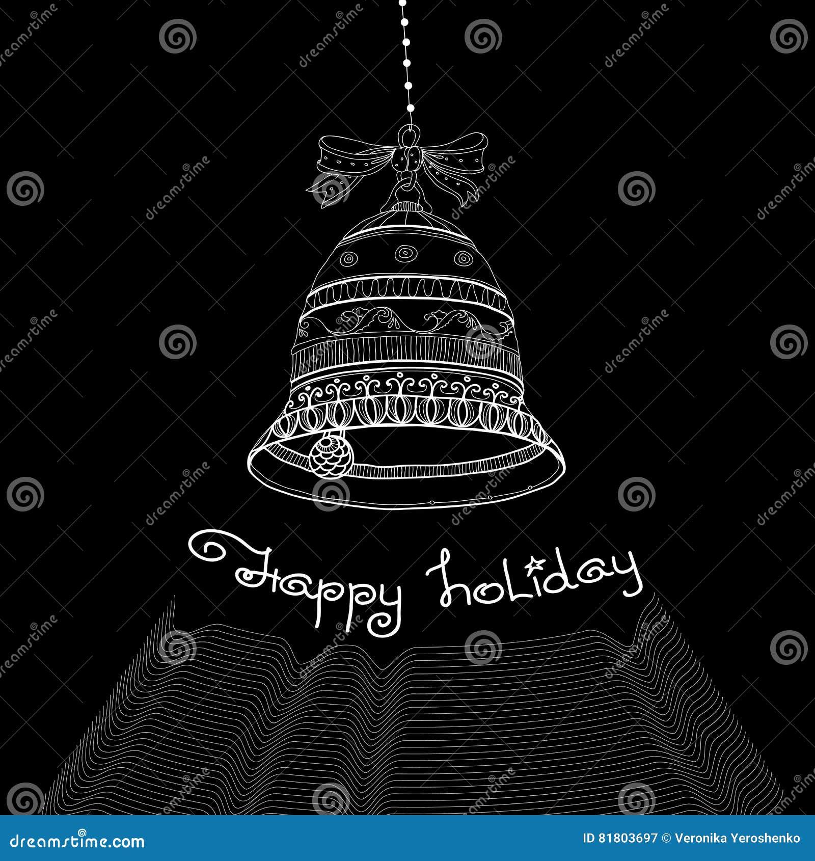Рождественская открытка с колоколами и праздником рукописных слов счастливым