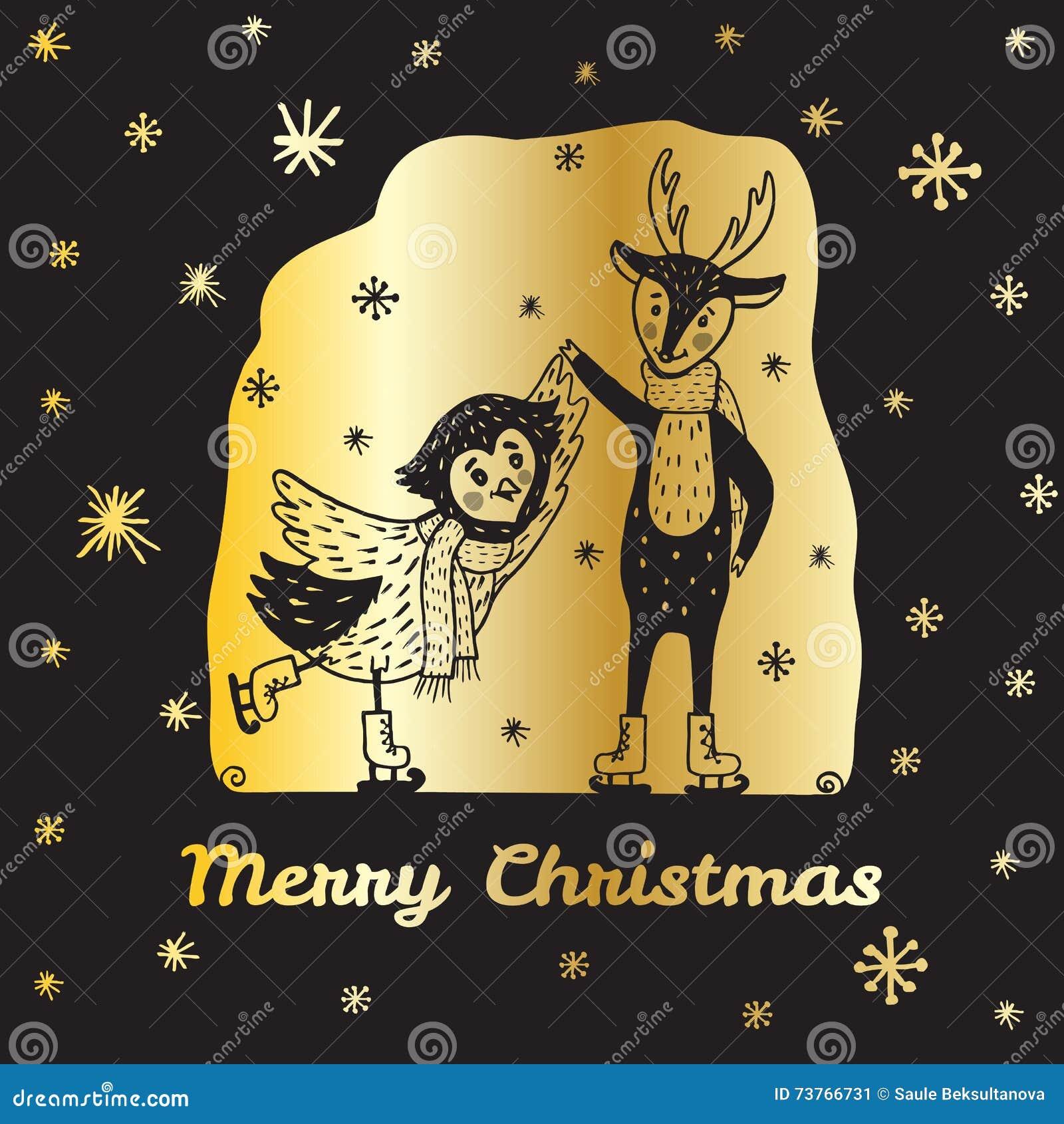Рождественская открытка с северным оленем нарисованным рукой и сыч катаются на коньках