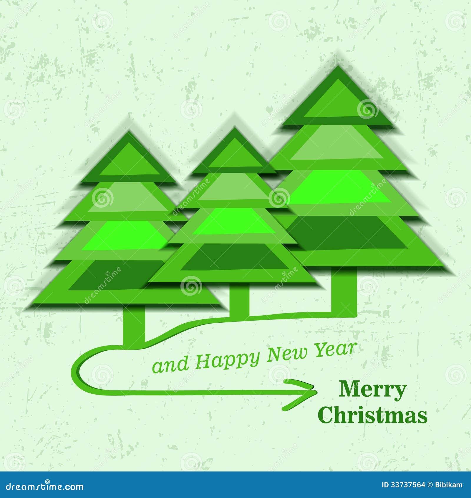 Рождественская открытка с tress рождества