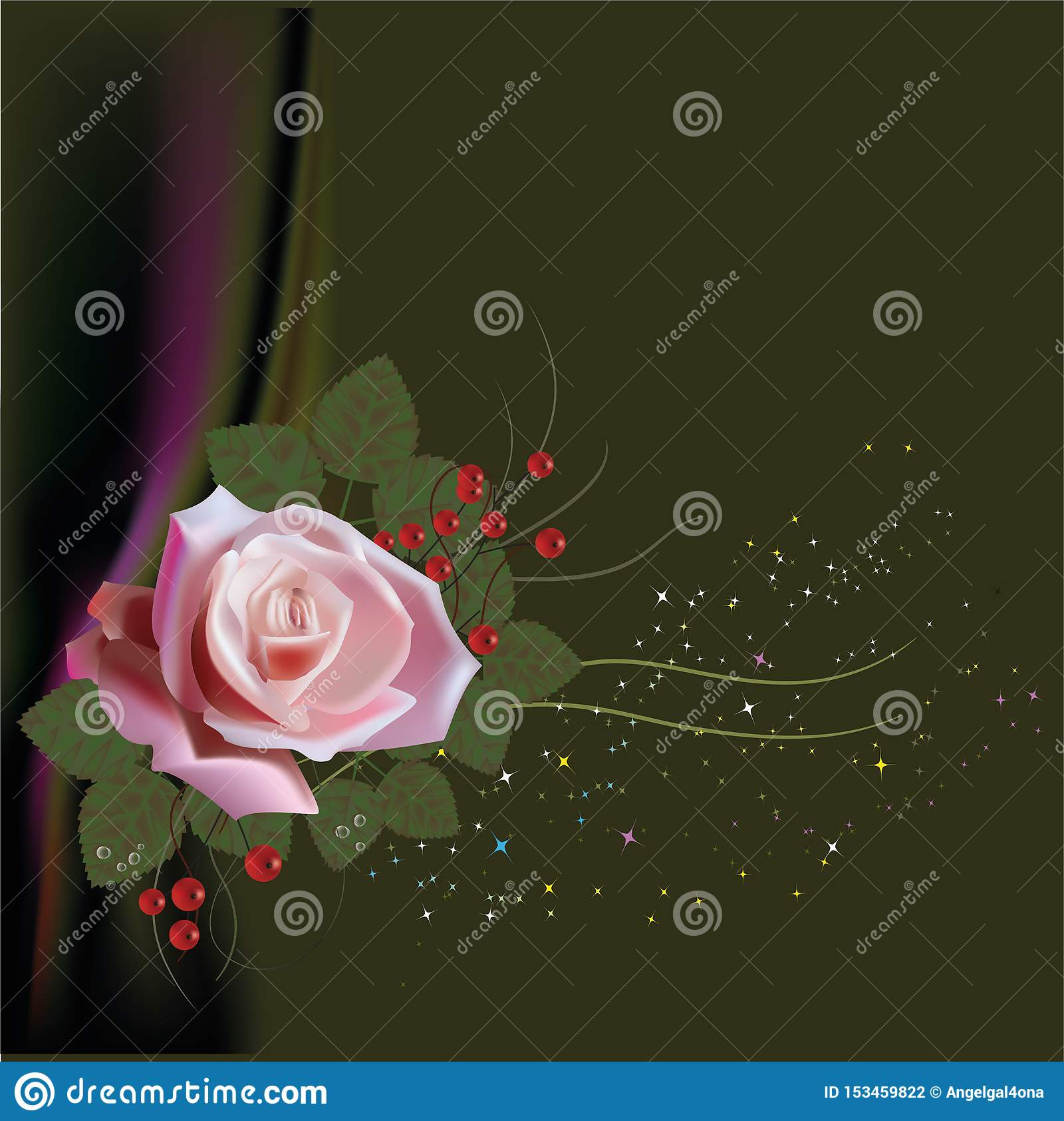 роза, картина, флористическая, предпосылка, пинк, цветок, цветки, бумага, год сбора винограда, дизайн, вектор, весна, Валентайн,