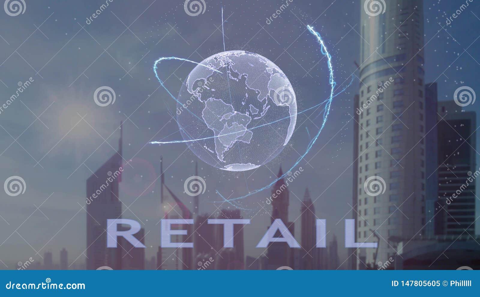 Розничный текст с hologram 3d земли планеты против фона современной метрополии