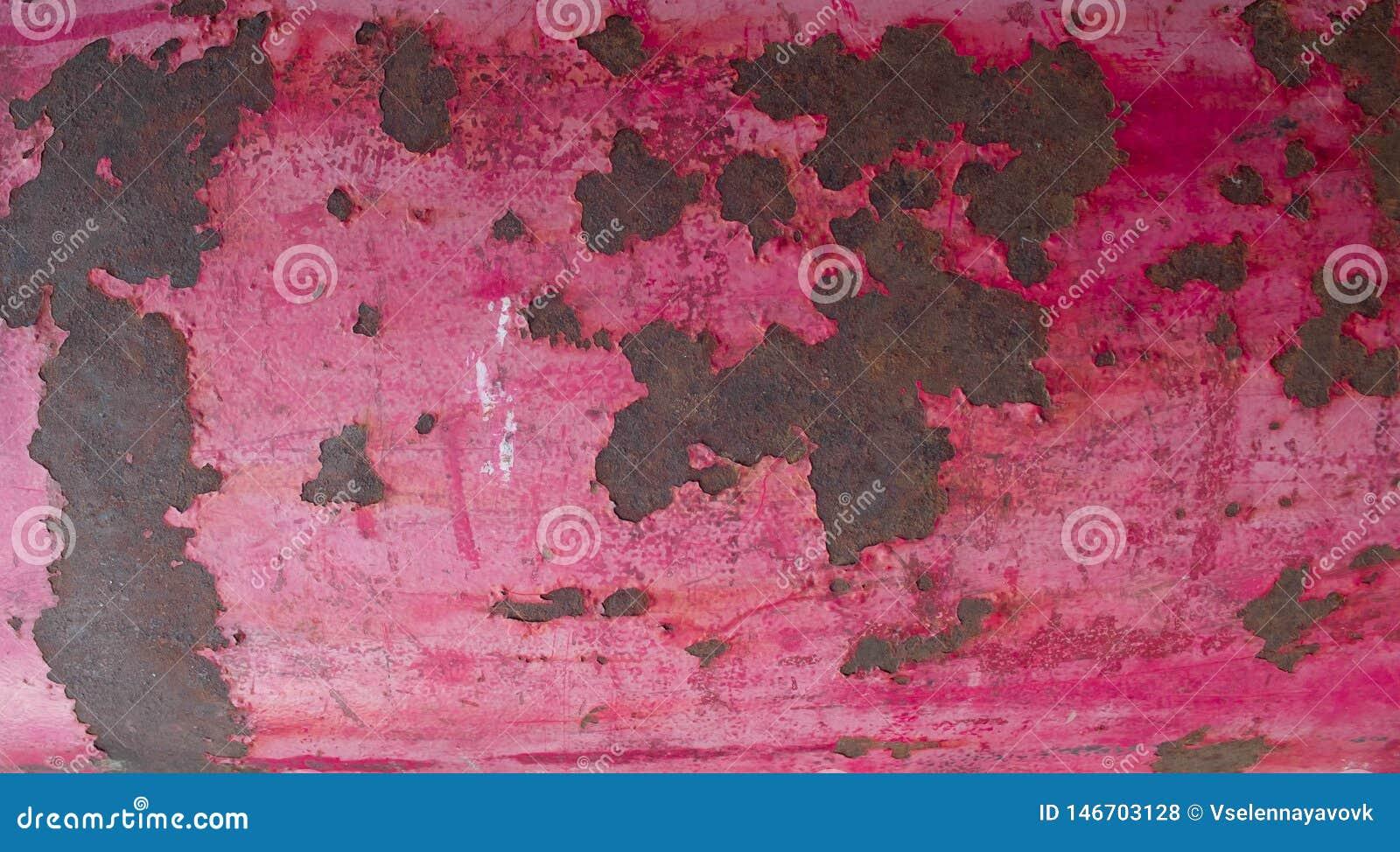 Розовая винтажная предпосылка металла с треснутой краской o