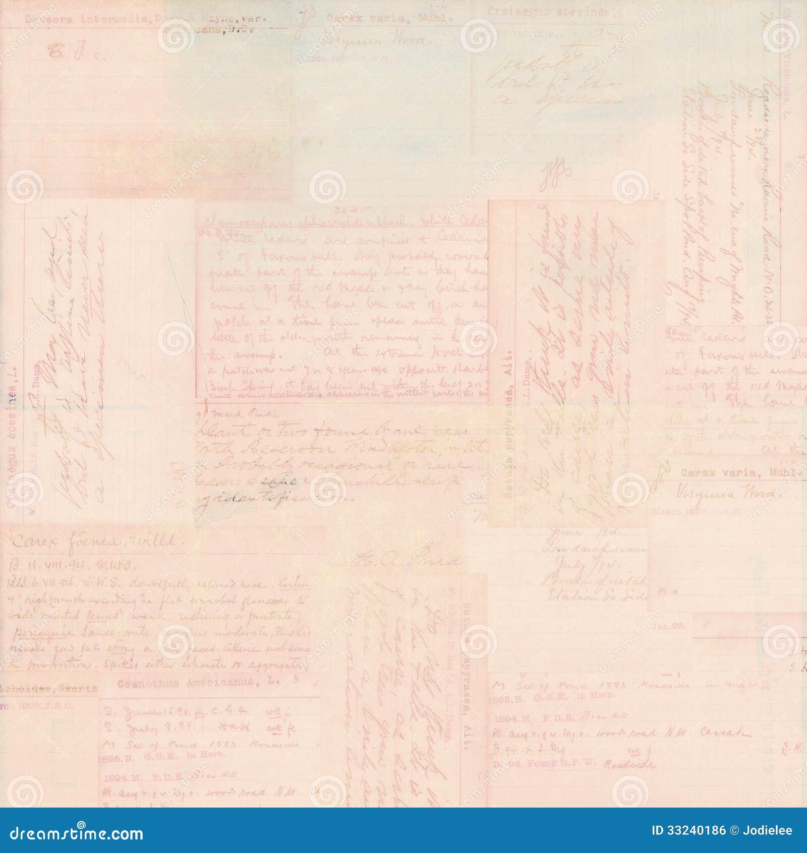 Розовая винтажная предпосылка ephemera текста открытки