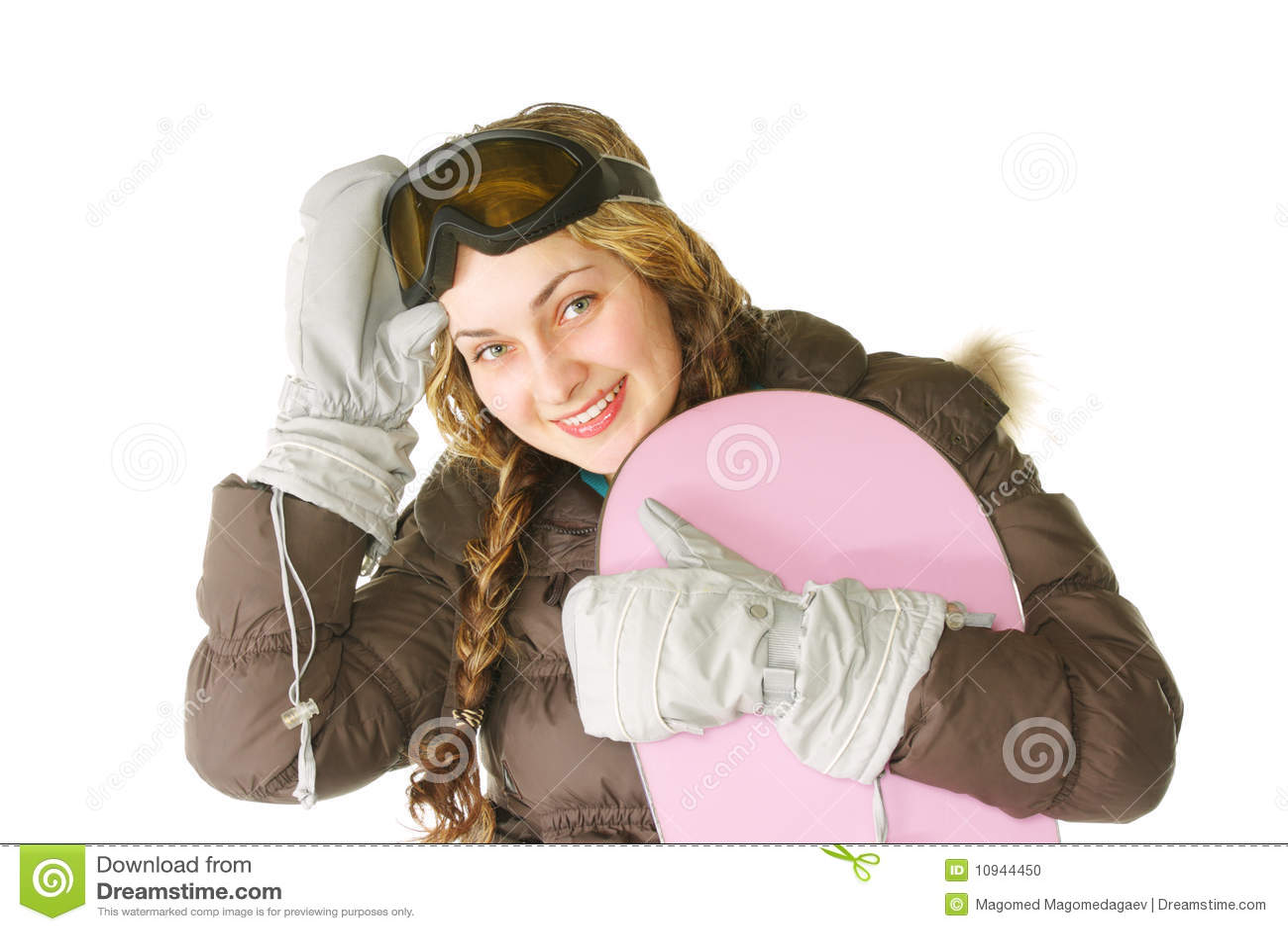 розовая женщина snowboard