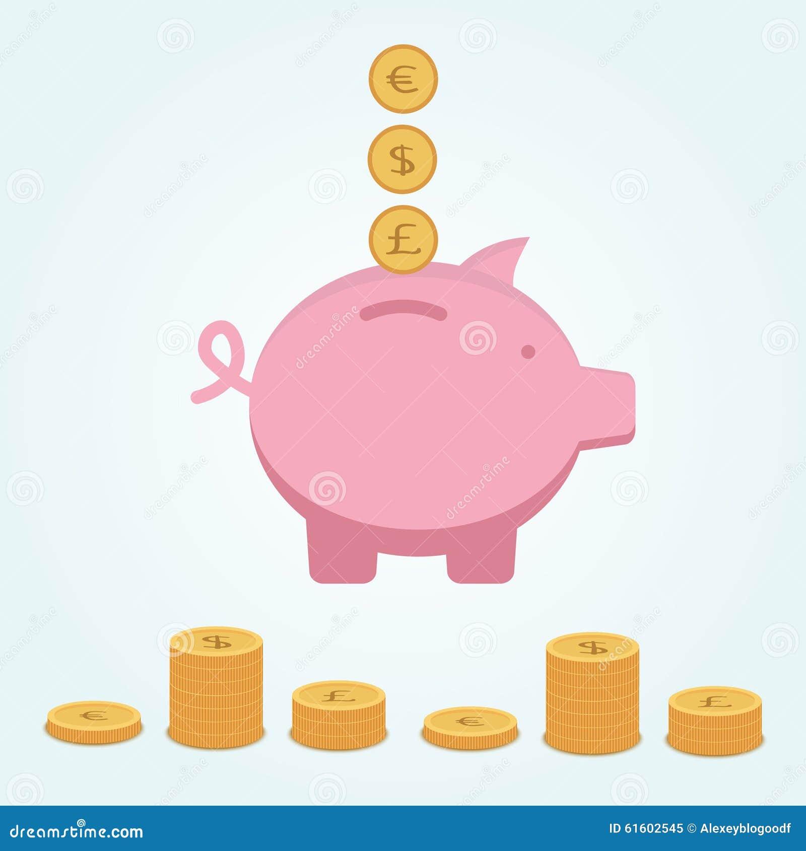 Розовая копилка в которой евро и фунт доллара монеток мухы золотые Около стогов лож монеток Инфографика