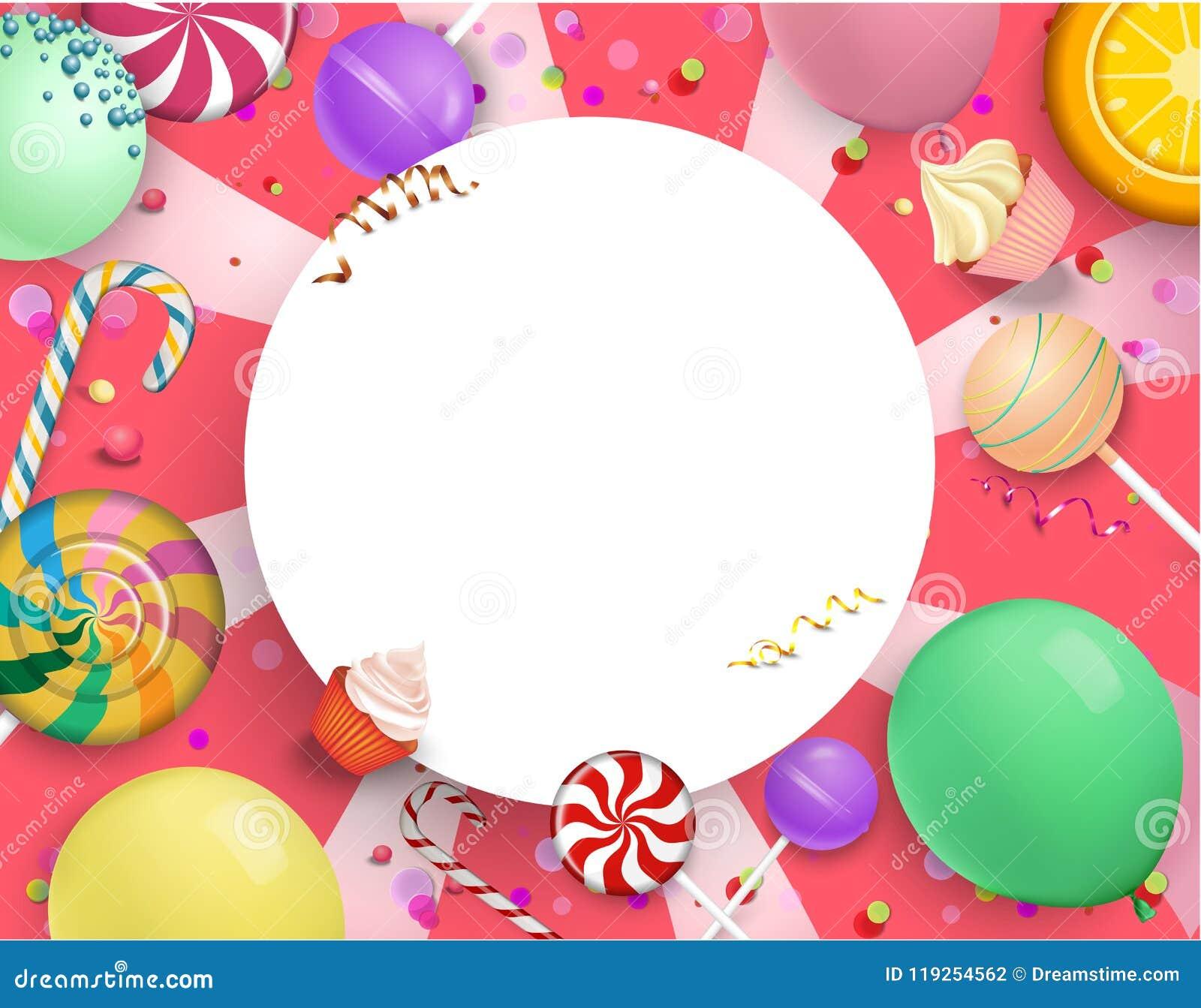 Розовая круглая праздничная предпосылка с красочными помадками